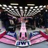 The car of Sergio Perez in the garage