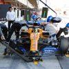 Lando Norris, McLaren, makes a pit stop