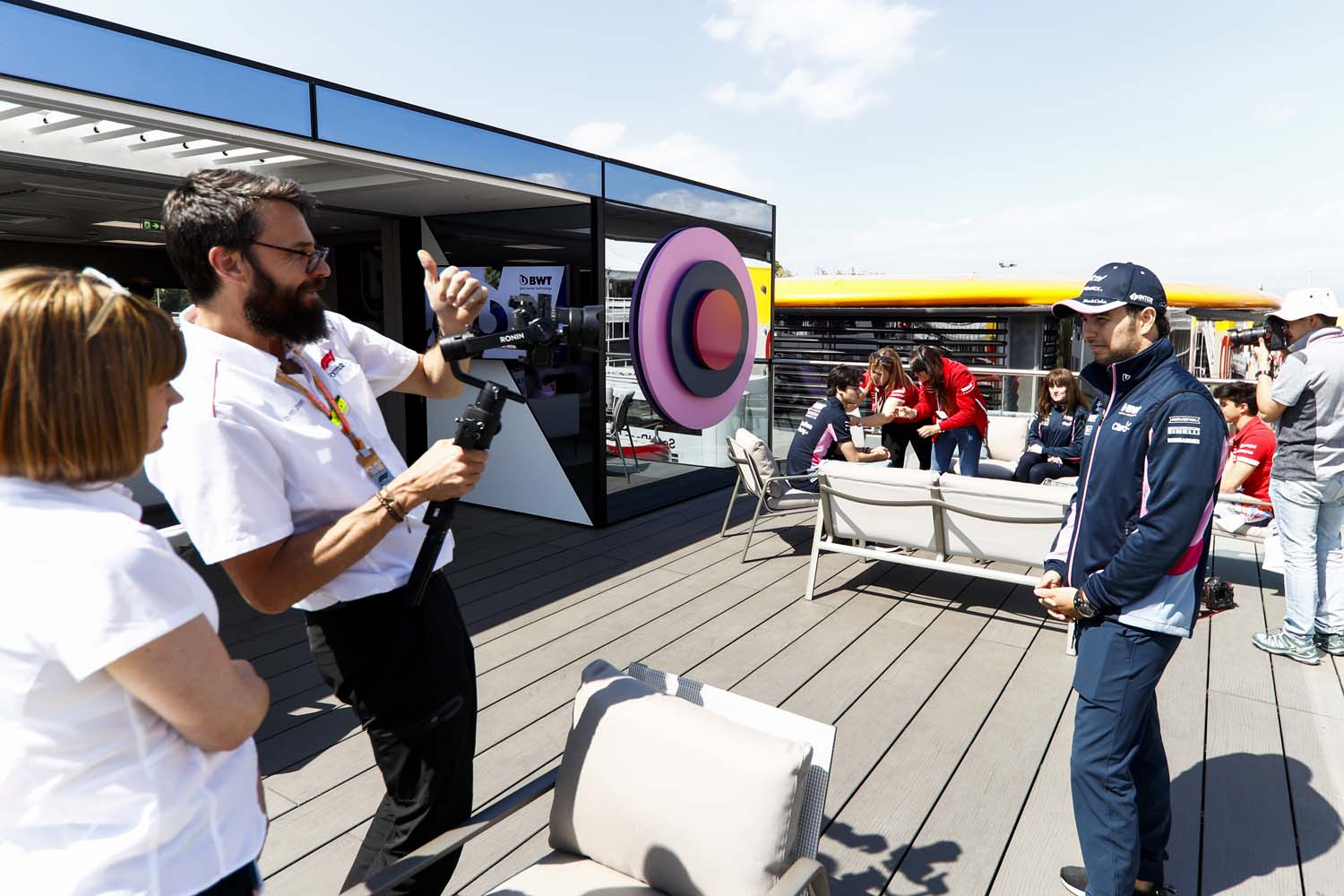 Sergio Perez, Racing Point, poses for a TV camera