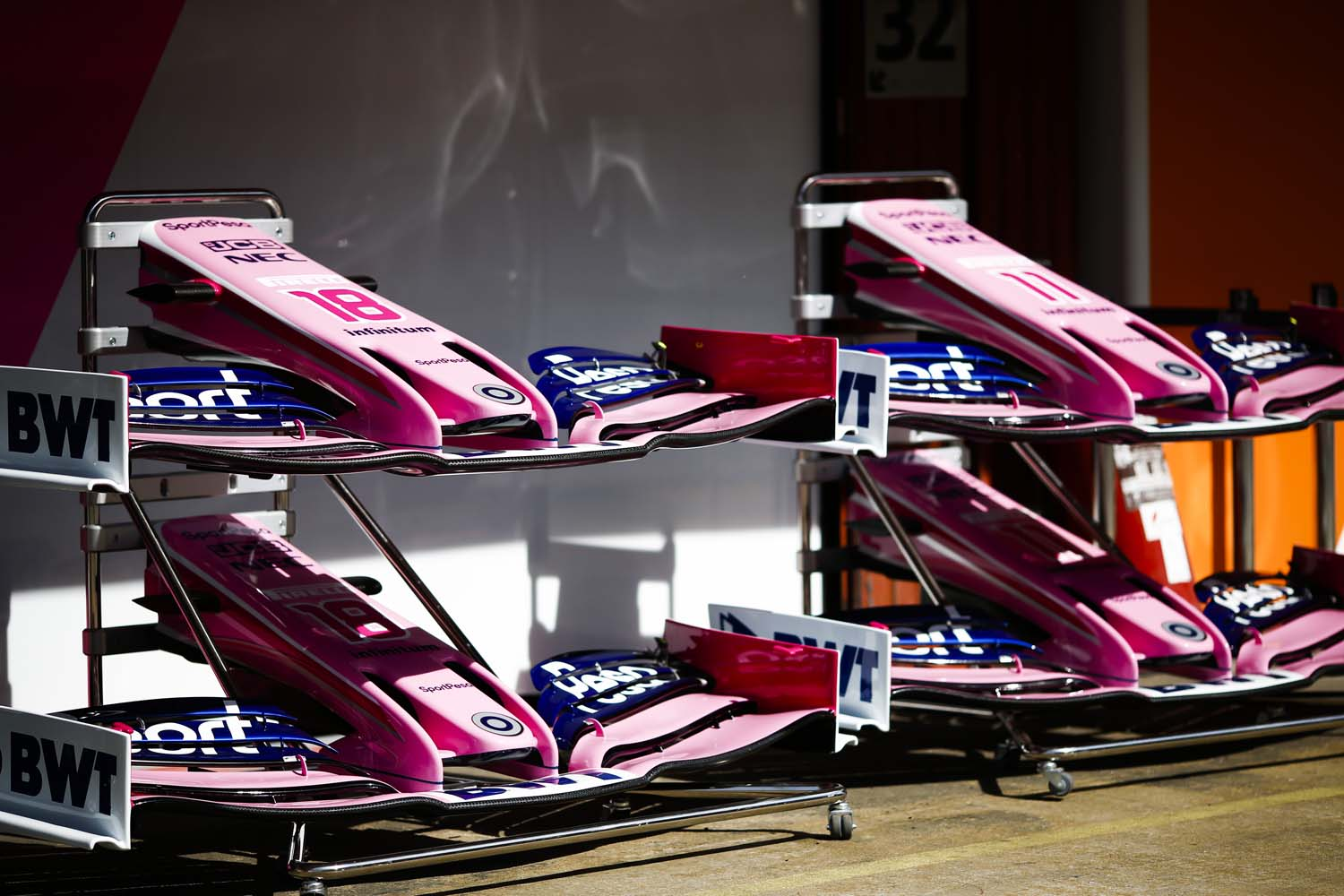 Nose and front wing assemblies in the pit lane