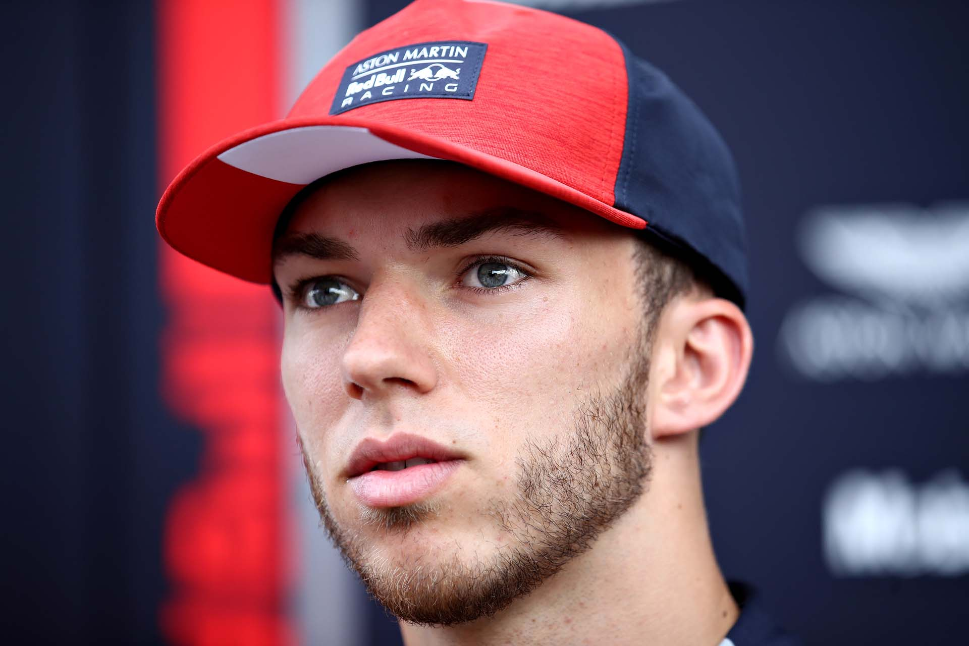 SPIELBERG, AUSTRIA - JUNE 27: Pierre Gasly of France and Red Bull Racing talks to the media in the Paddock during previews ahead of the F1 Grand Prix of Austria at Red Bull Ring on June 27, 2019 in Spielberg, Austria. (Photo by Bryn Lennon/Getty Images) // Getty Images / Red Bull Content Pool  // AP-1ZS9E8QK11W11 // Usage for editorial use only // Please go to www.redbullcontentpool.com for further information. //