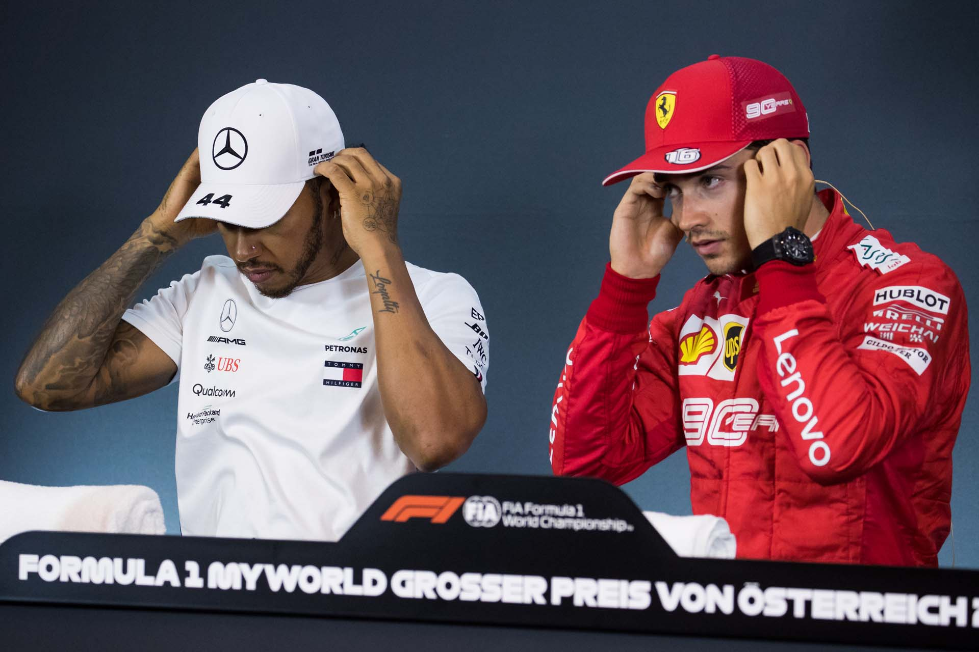SPIELBERG,AUSTRIA,29.JUN.19 - MOTORSPORTS, FORMULA 1 - Grand Prix of Austria, Red Bull Ring, qualification. Image shows Lewis Hamilton (GBR/ Mercedes) and Charles Leclerc (MON/ Ferrari). Photo: GEPA pictures/ Daniel Goetzhaber - For editorial use only. Image is free of charge.