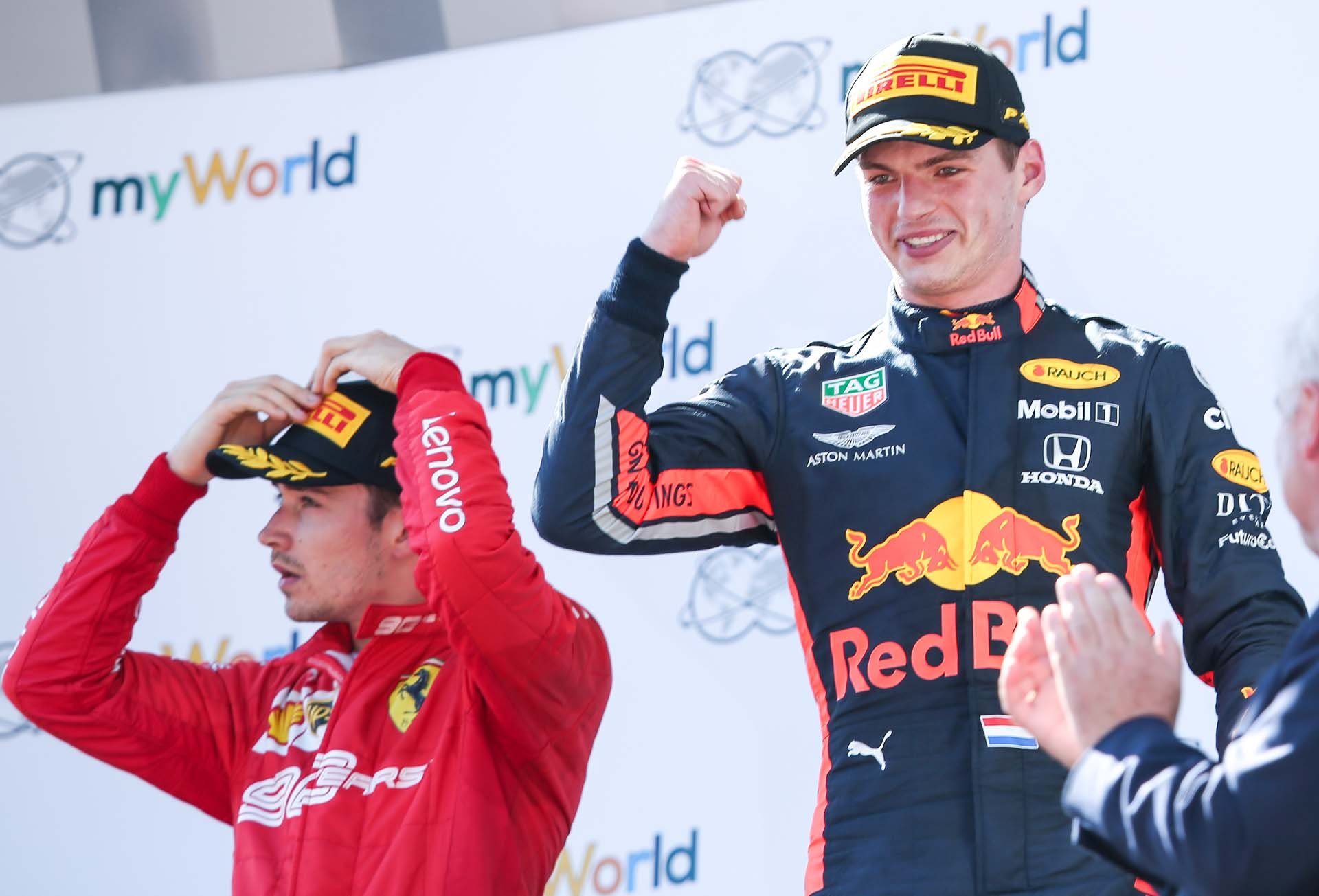 SPIELBERG,AUSTRIA,30.JUN.19 - MOTORSPORTS, FORMULA 1 - Grand Prix of Austria, Red Bull Ring. Image shows Charles Leclerc (MON/ Ferrari) and Max Verstappen (NED/ Red Bull Racing). Photo: GEPA pictures/ Harald Steiner - For editorial use only. Image is free of charge.