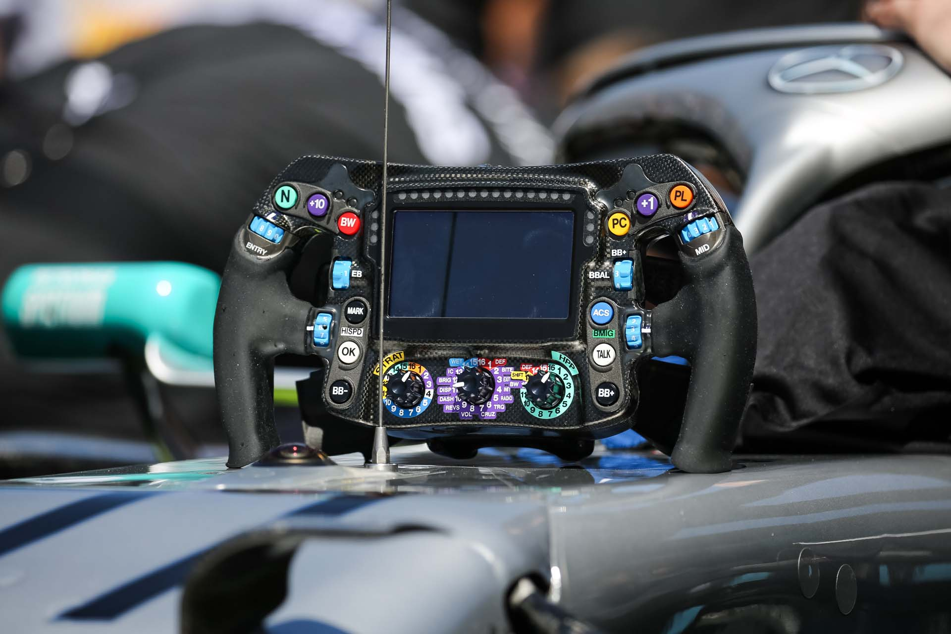SPIELBERG,AUSTRIA,30.JUN.19 - MOTORSPORTS, FORMULA 1 - Grand Prix of Austria, Red Bull Ring. Image shows a steering wheel. Photo: GEPA pictures/ Daniel Goetzhaber - For editorial use only. Image is free of charge.