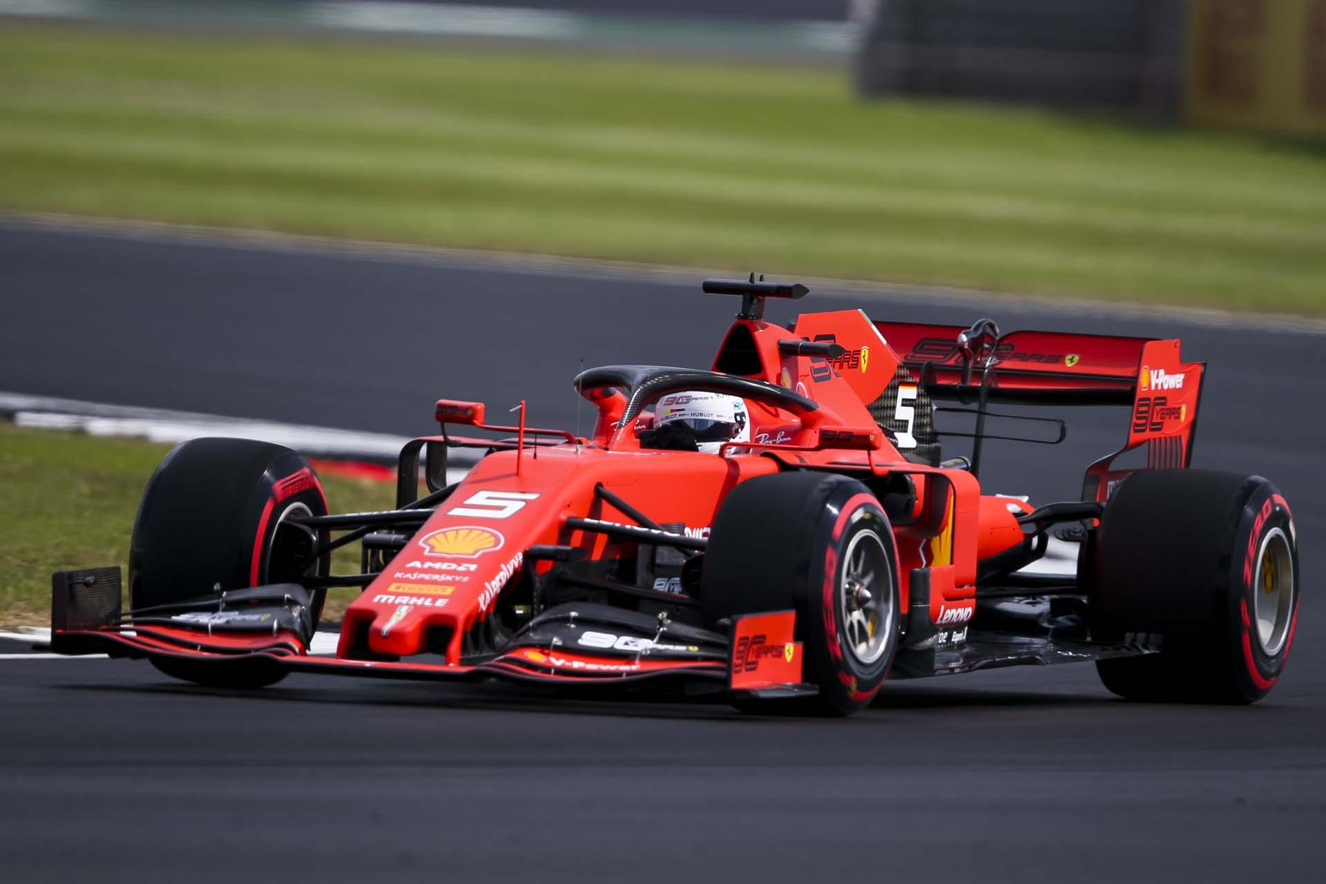 SILVERSTONE, UNITED KINGDOM - JULY 12: Sebastian Vettel, Ferrari SF90 during the British GP at Silverstone on July 12, 2019 in Silverstone, United Kingdom. (Photo by Dom Romney / LAT Images)