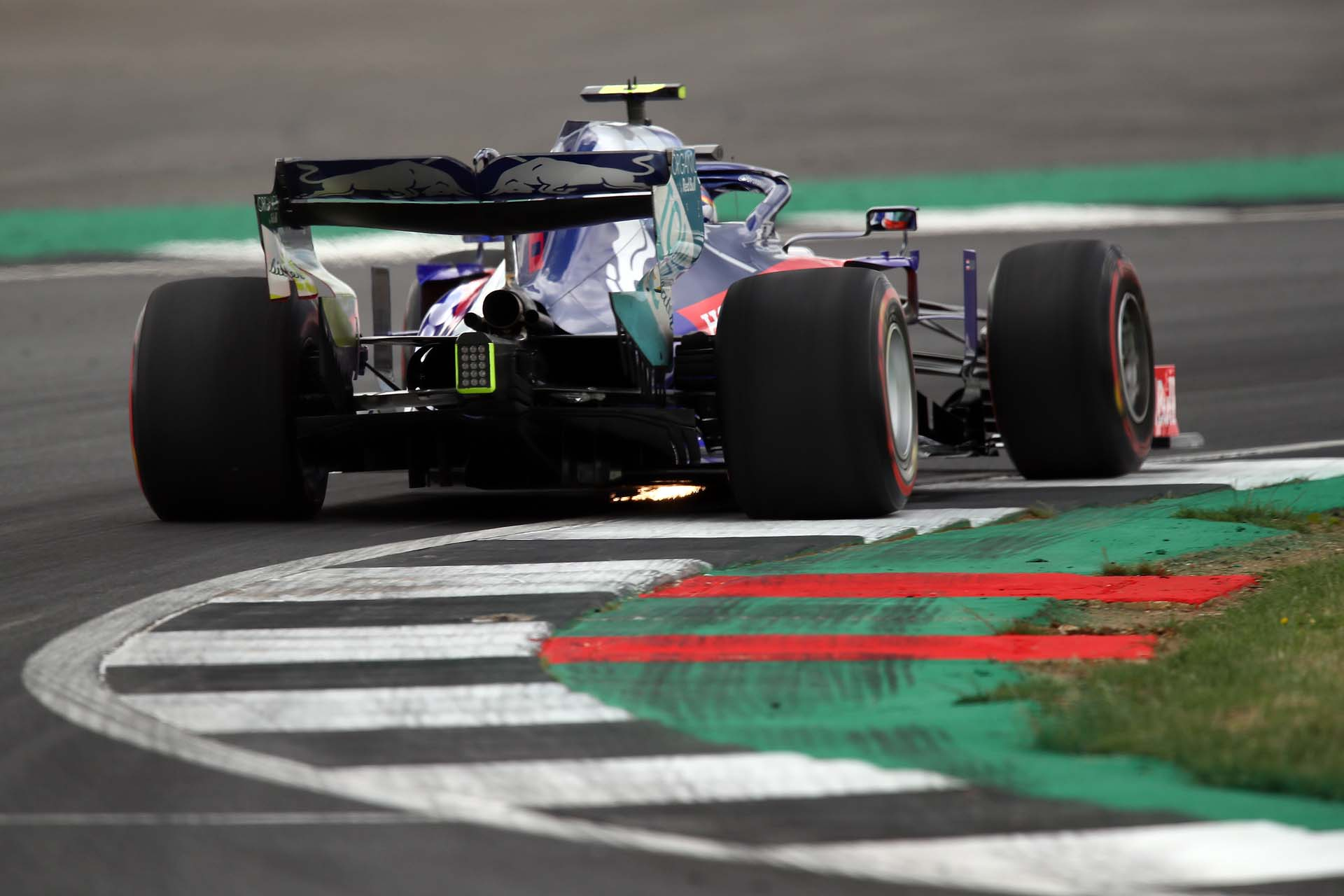NORTHAMPTON, ENGLAND - JULY 12: Alexander Albon of Thailand driving the (23) Scuderia Toro Rosso STR14 Honda on track during practice for the F1 Grand Prix of Great Britain at Silverstone on July 12, 2019 in Northampton, England. (Photo by Bryn Lennon/Getty Images) // Getty Images / Red Bull Content Pool  // AP-1ZX61T1ND2111 // Usage for editorial use only // Please go to www.redbullcontentpool.com for further information. //