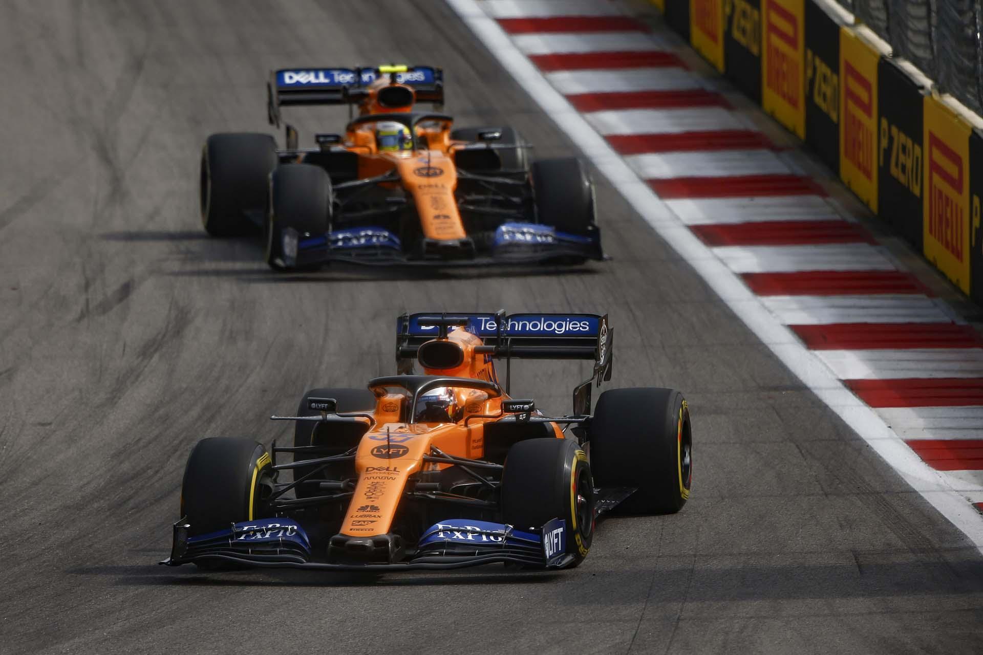 Carlos Sainz, McLaren MCL34, leads Lando Norris, McLaren MCL34