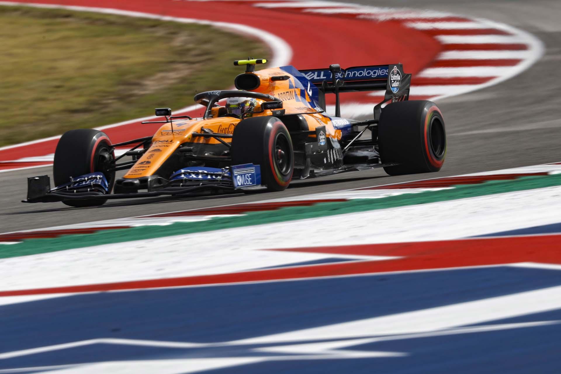 Lando Norris, McLaren MCL34 on a turn
