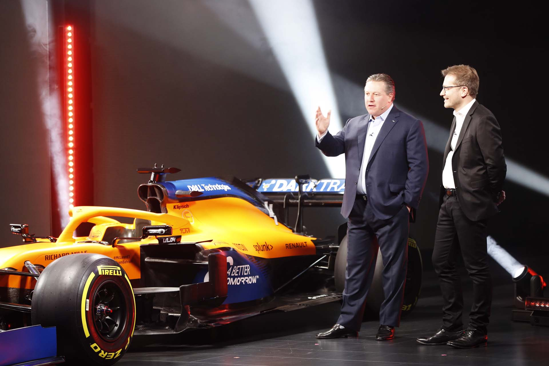 Zak Brown and Andreas Seidl at the MCL35 launch. 13 February 2020