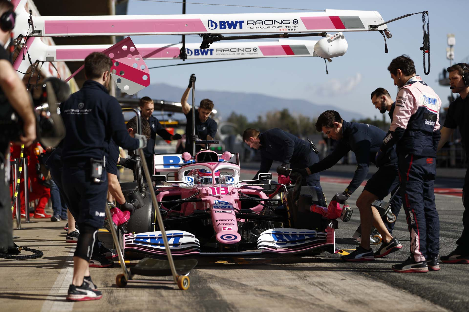 Lance Stroll, Racing Point RP20 during a pit stop