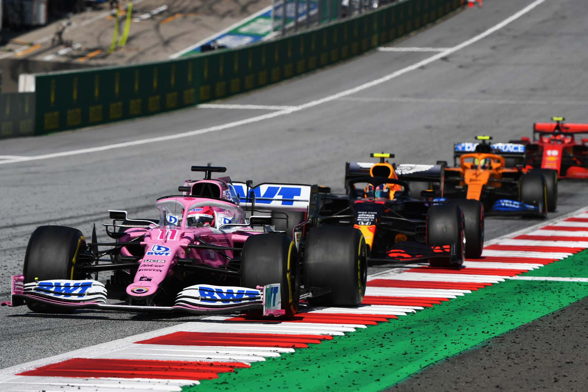 Sergio Perez, Racing Point RP20, leads Alexander Albon, Red Bull Racing RB16