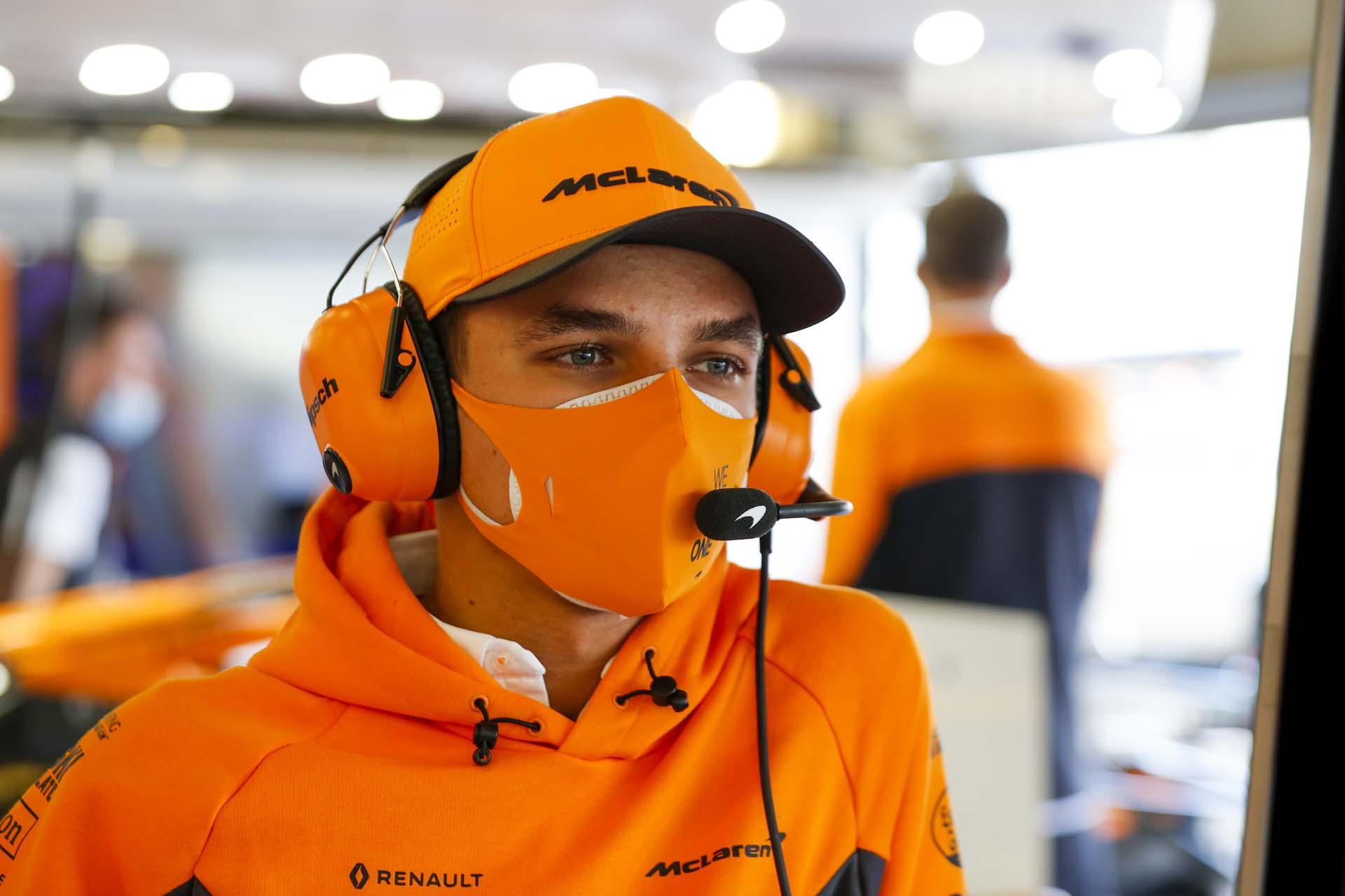 Lando Norris, McLaren in the garage