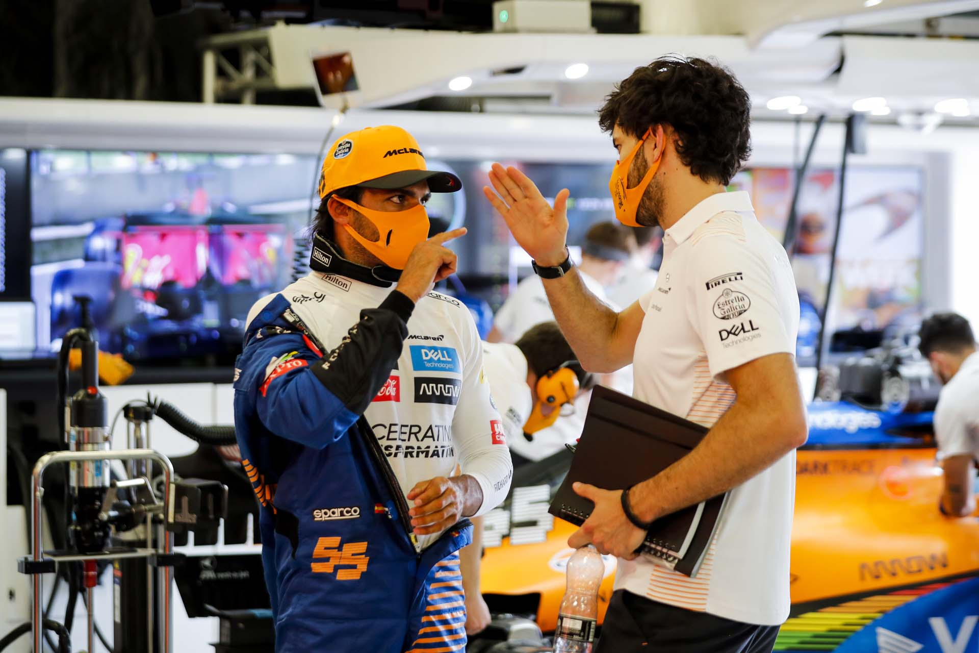 Carlos Sainz, McLaren, in the garage