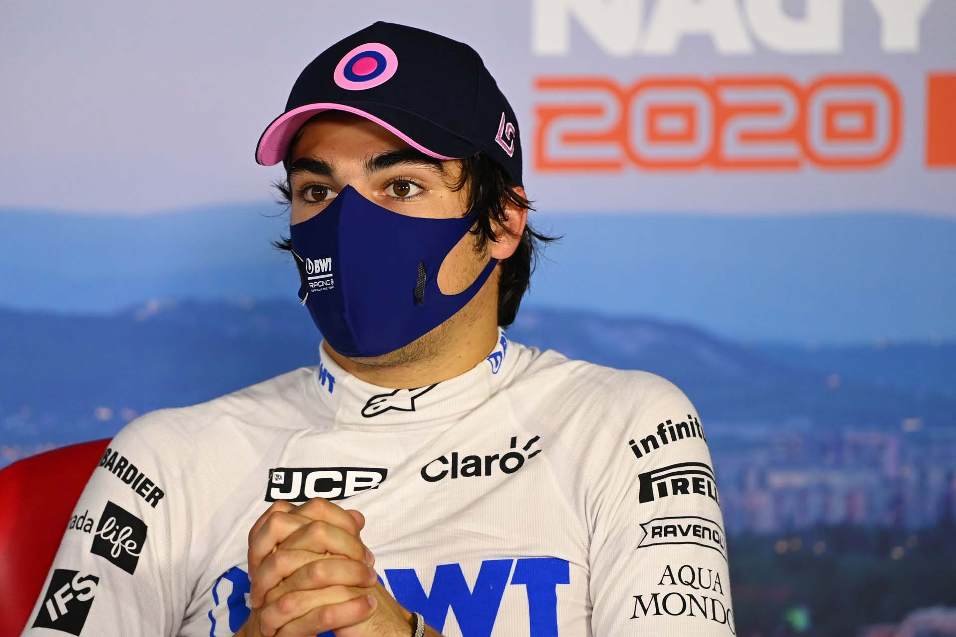 Lance Stroll, Racing Point, in the qualifying press conference