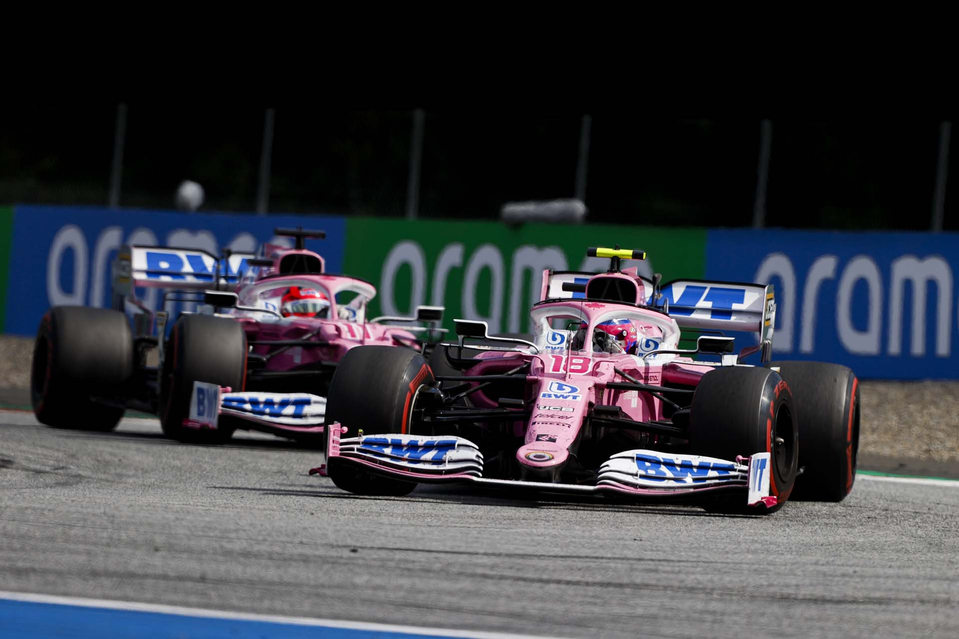 Lance Stroll, Racing Point RP20 and Sergio Perez, Racing Point RP20