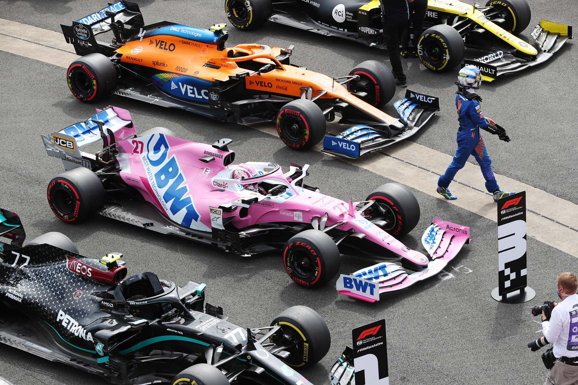Lando Norris, McLaren, in Parc Ferme after Qualifying