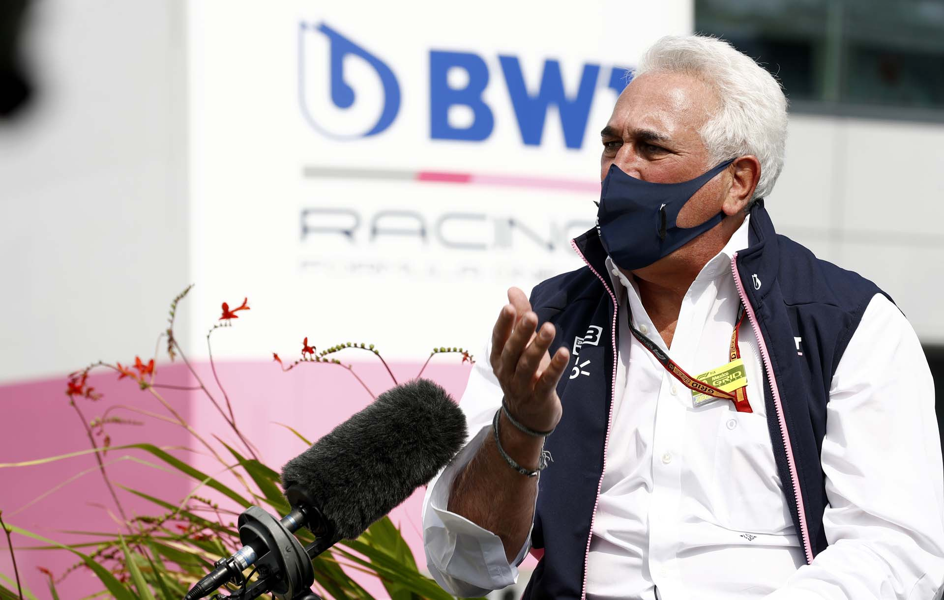 Lawrence Stroll, Owner, Racing Point, speaks to the media