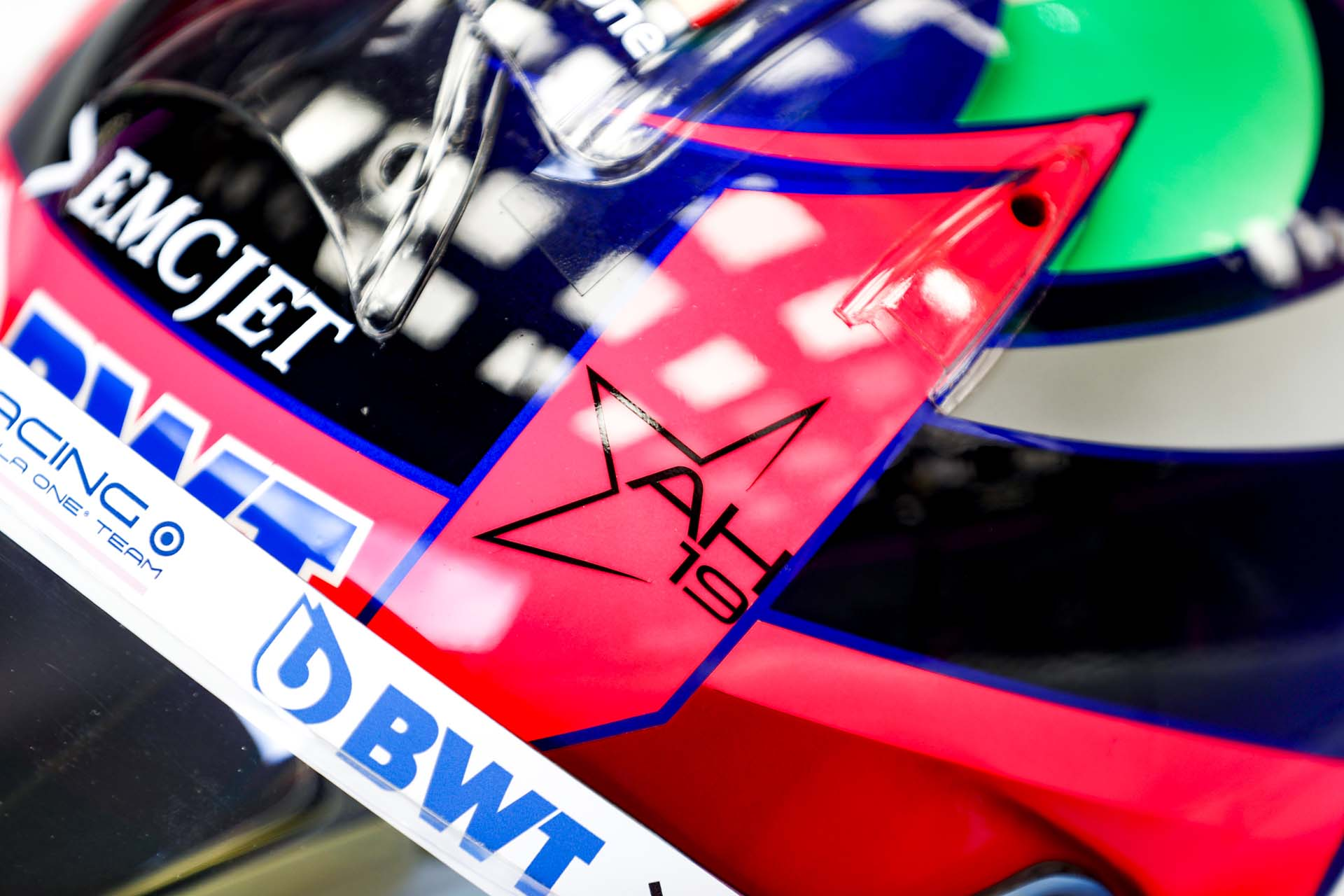 A tribute to Anthoine Hubert on the helmet of Sergio Perez, Racing Point