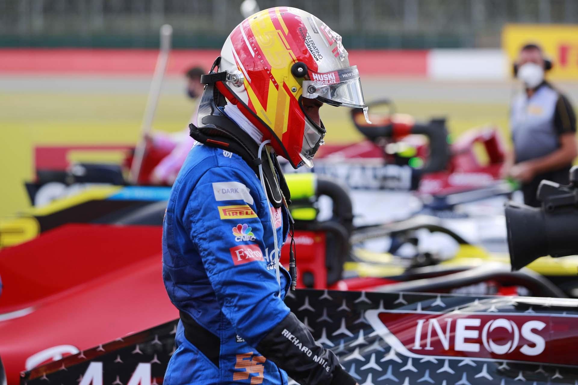 Carlos Sainz, McLaren, arrives in Parc Ferme