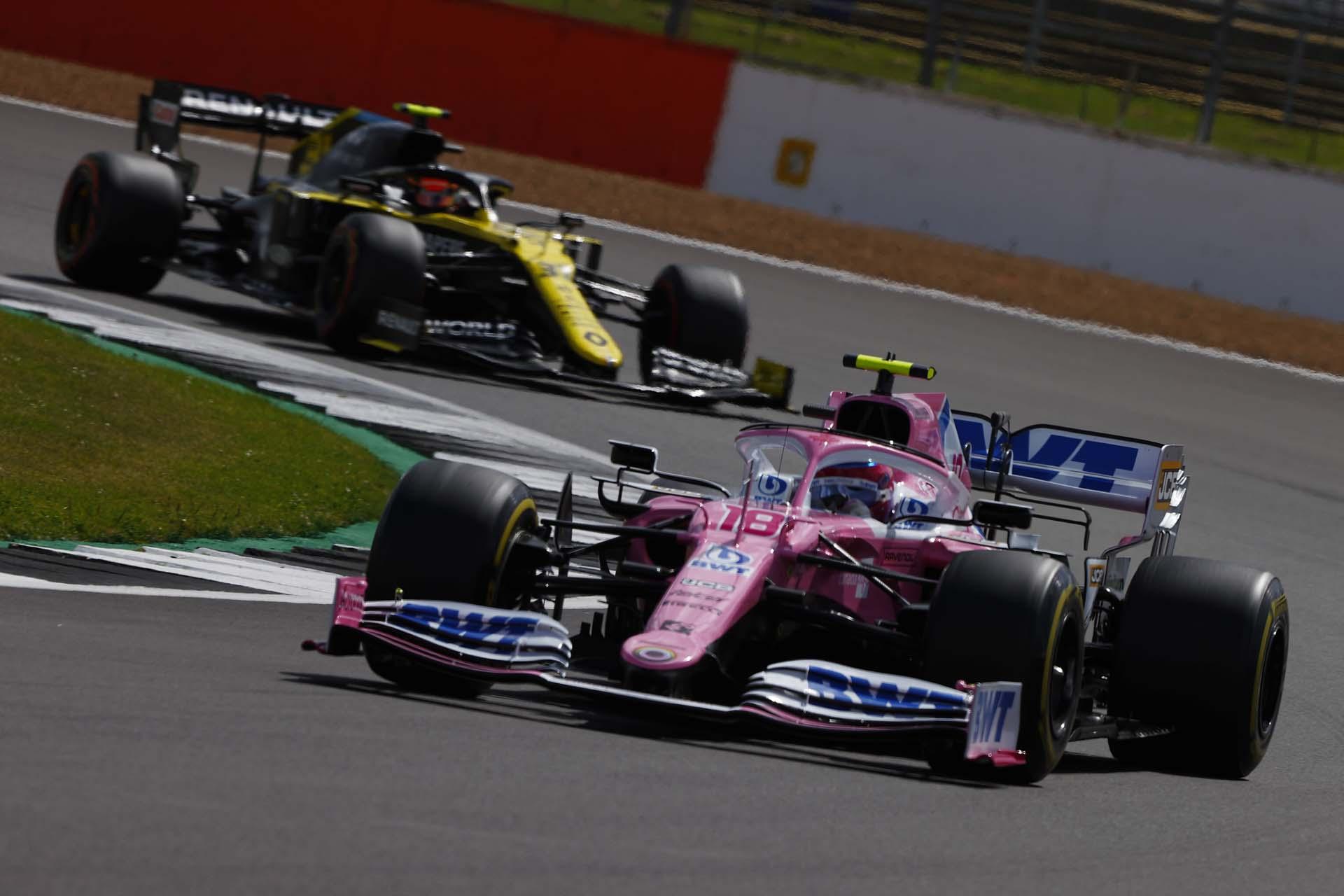 Lance Stroll, Racing Point RP20, leads Esteban Ocon, Renault R.S.20