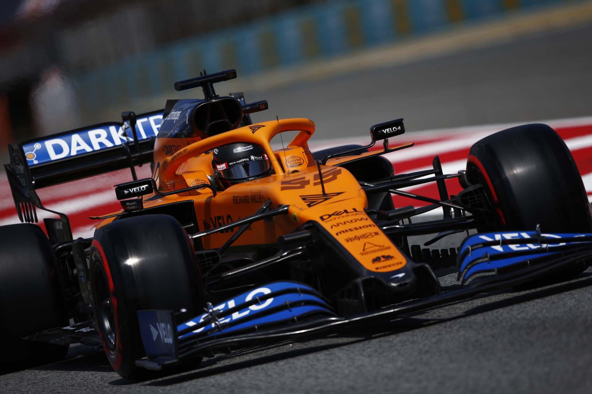 Carlos Sainz, McLaren MCL35, exits the pit lane