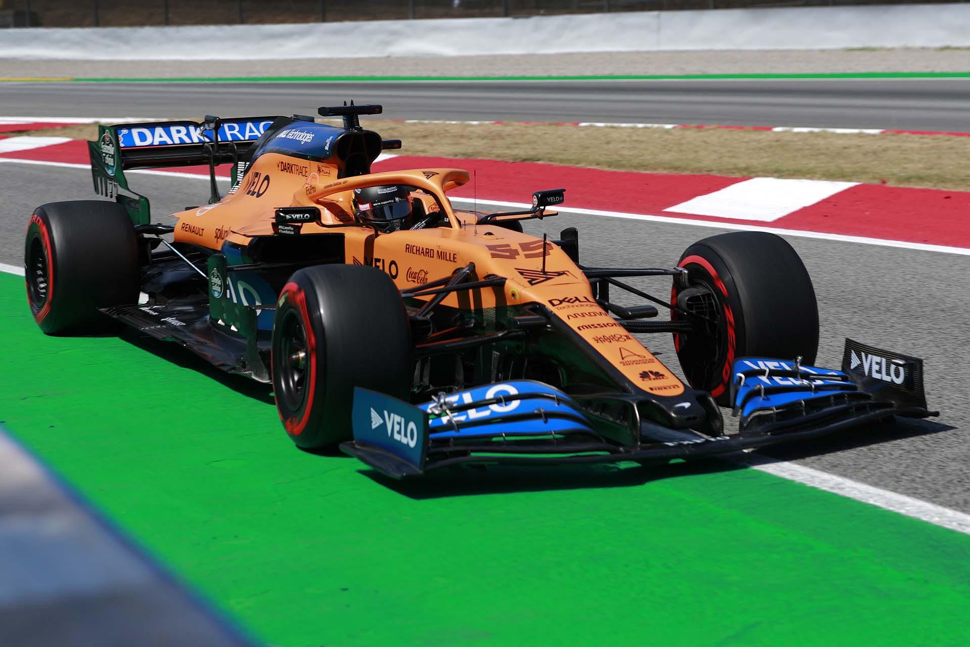Carlos Sainz, McLaren MCL35, enters the pit lane