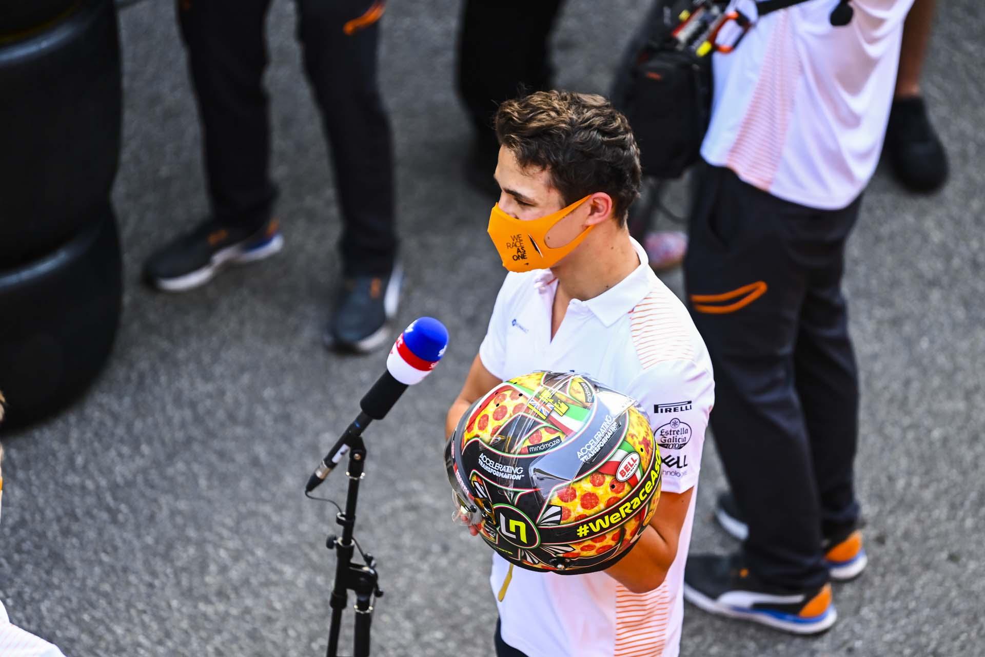 Lando Norris, McLaren, gives an interview for Sky Sports