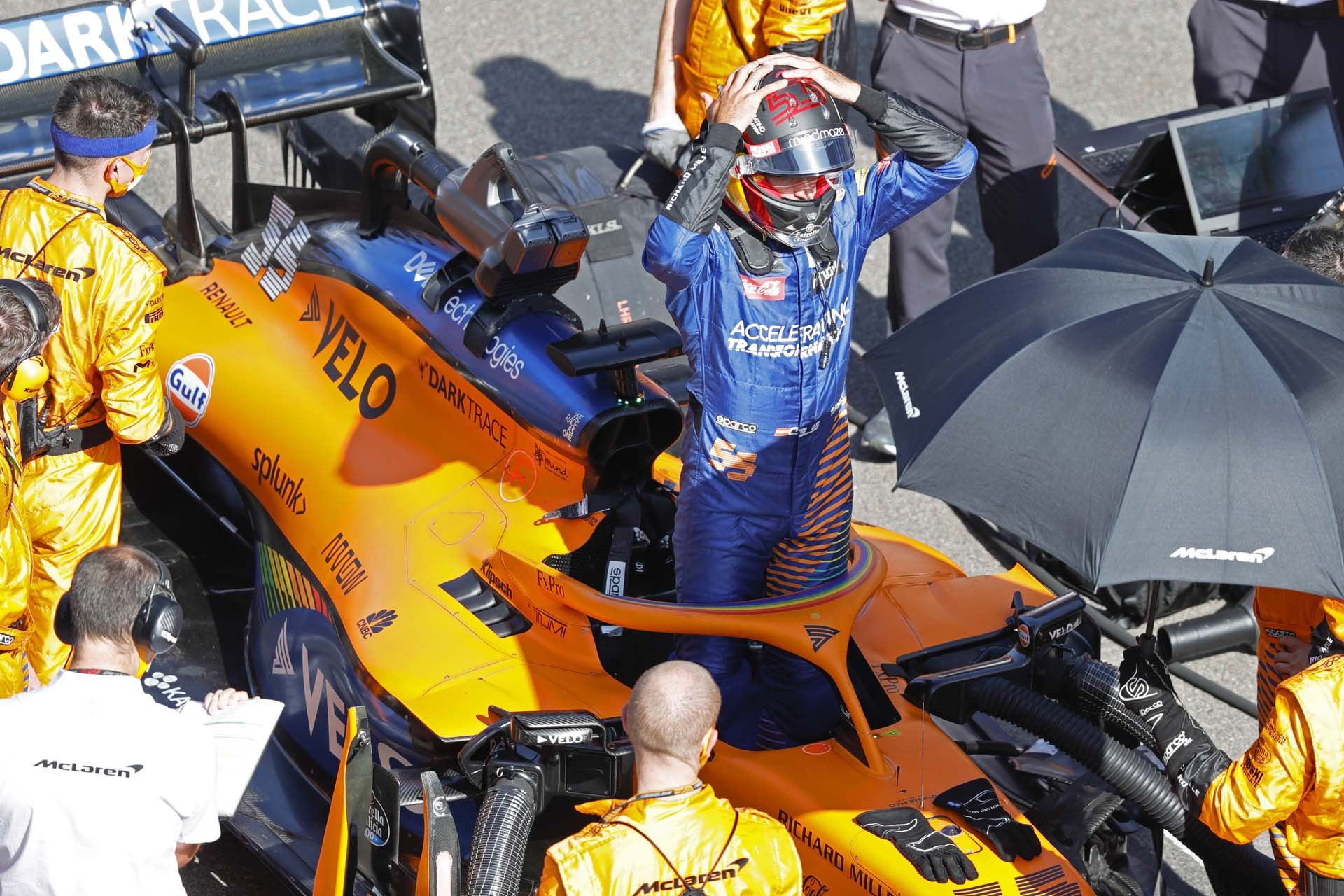 Carlos Sainz, McLaren, on the grid