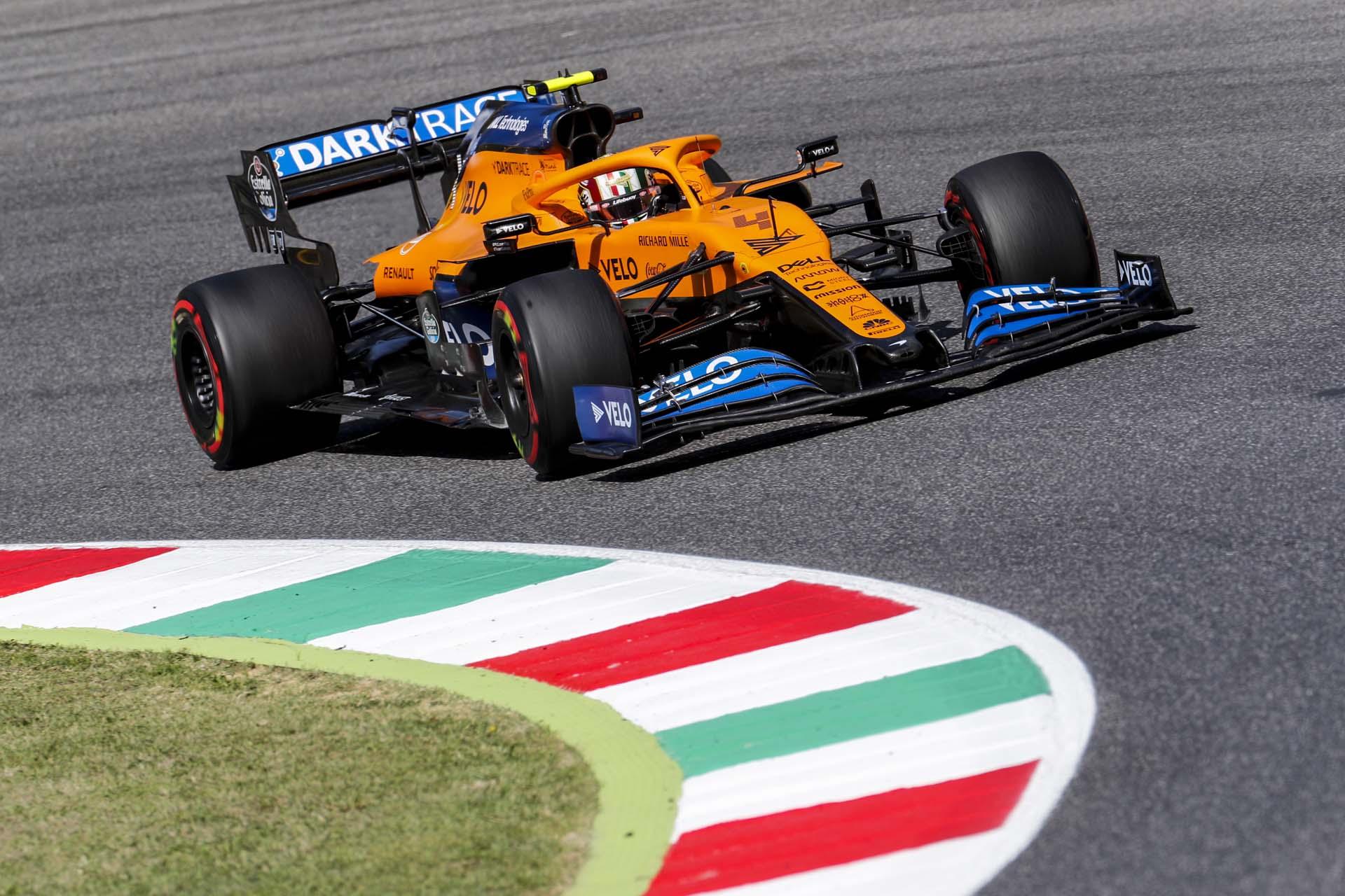 Lando Norris, McLaren MCL35, in a corner