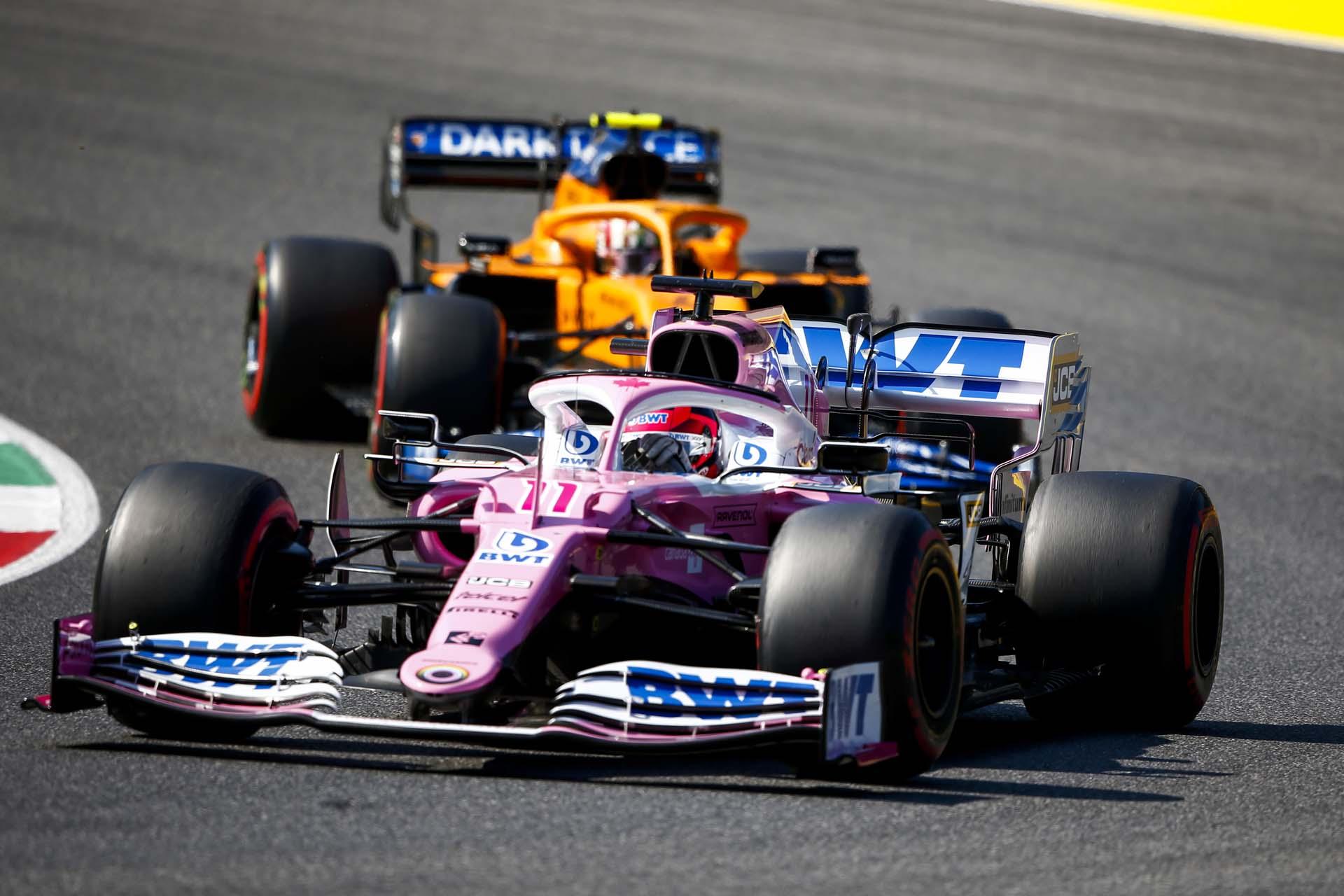 Sergio Perez, Racing Point RP20, leads Lando Norris, McLaren MCL35