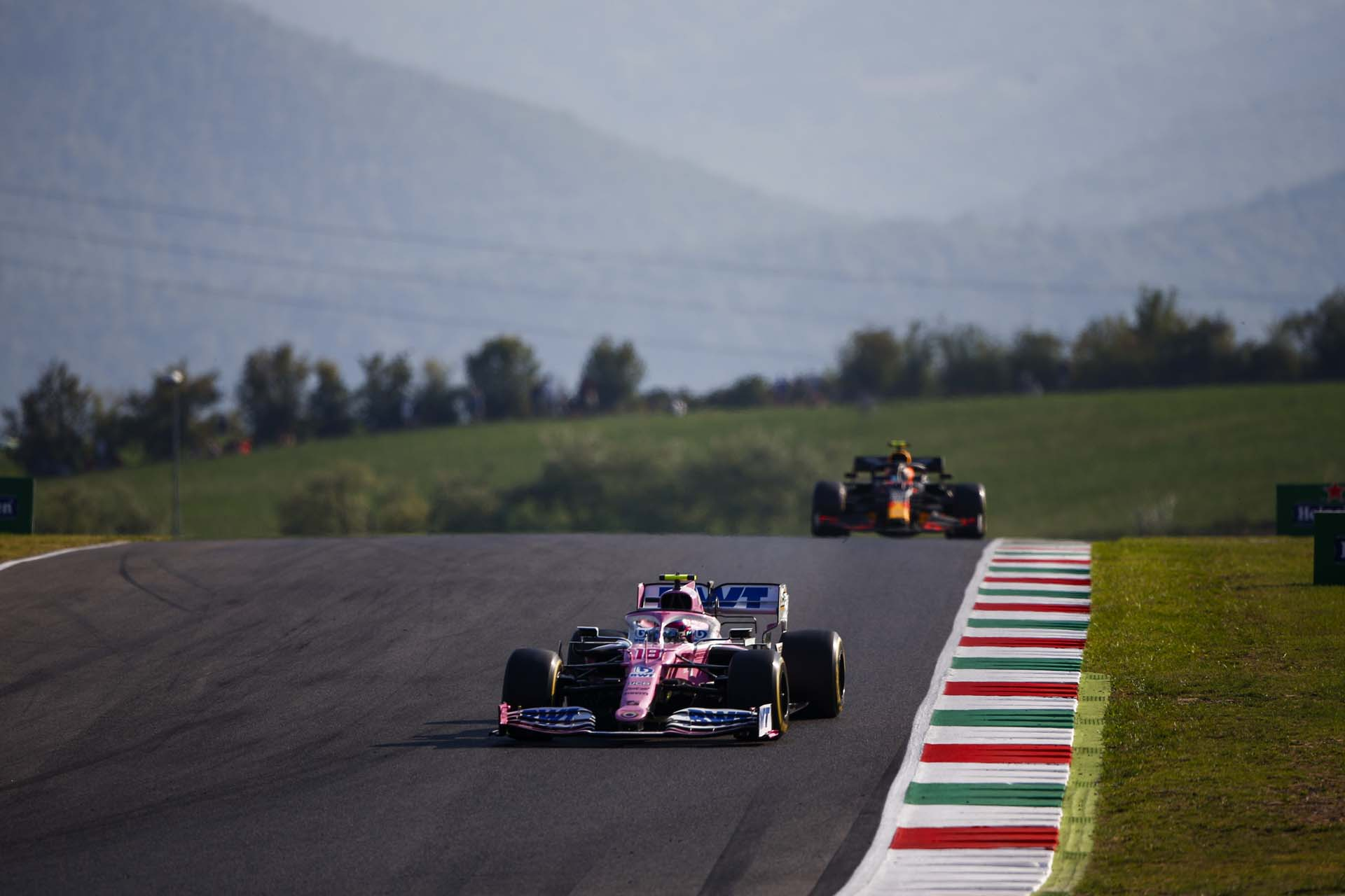 Lance Stroll, Racing Point RP20, leads Alexander Albon, Red Bull Racing RB16