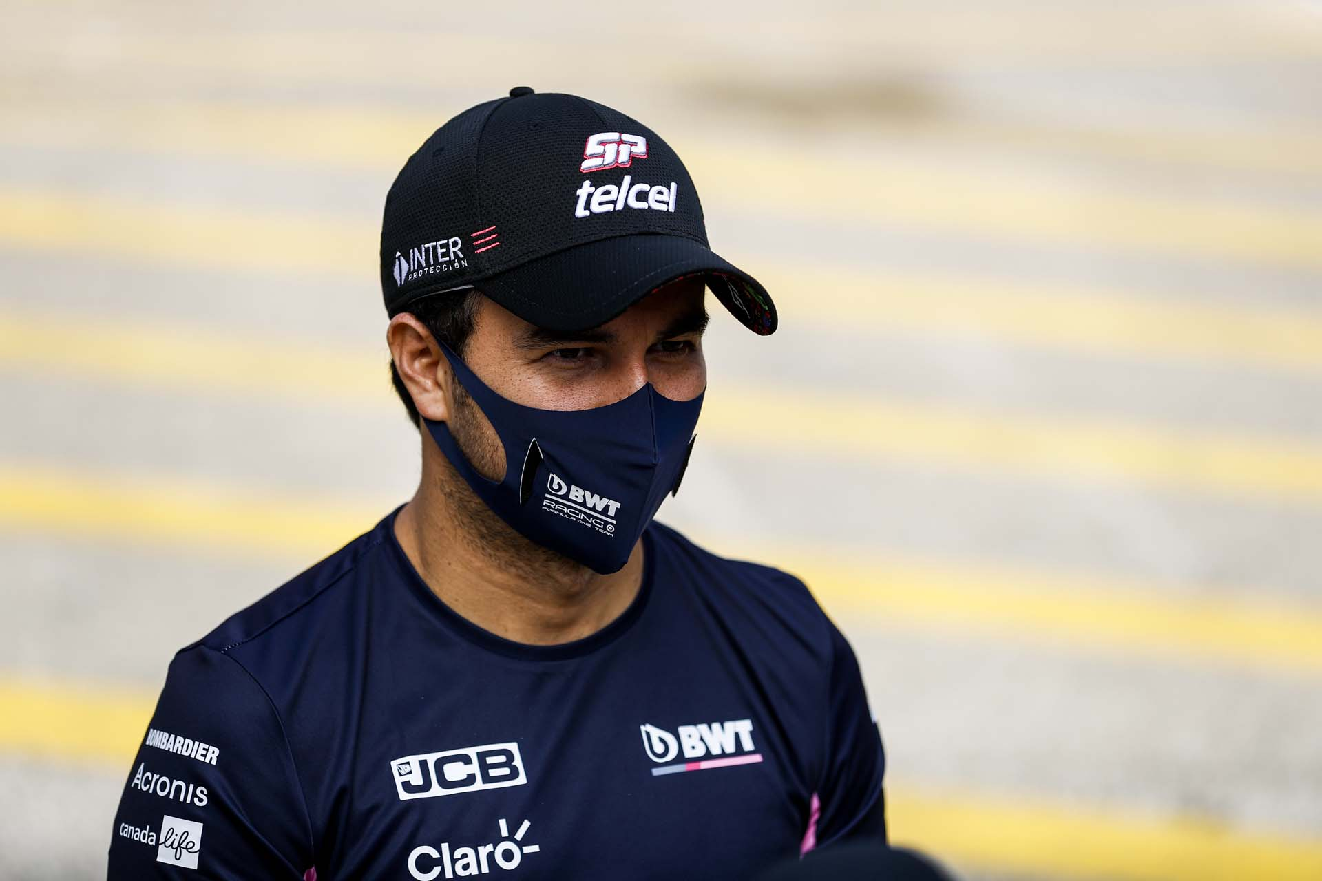 Sergio Perez, Racing Point, is interviewed