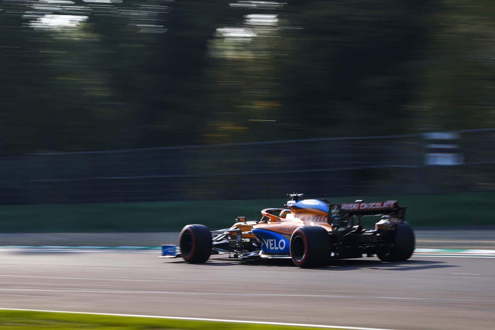 Carlos Sainz, McLaren MCL35, exits a corner