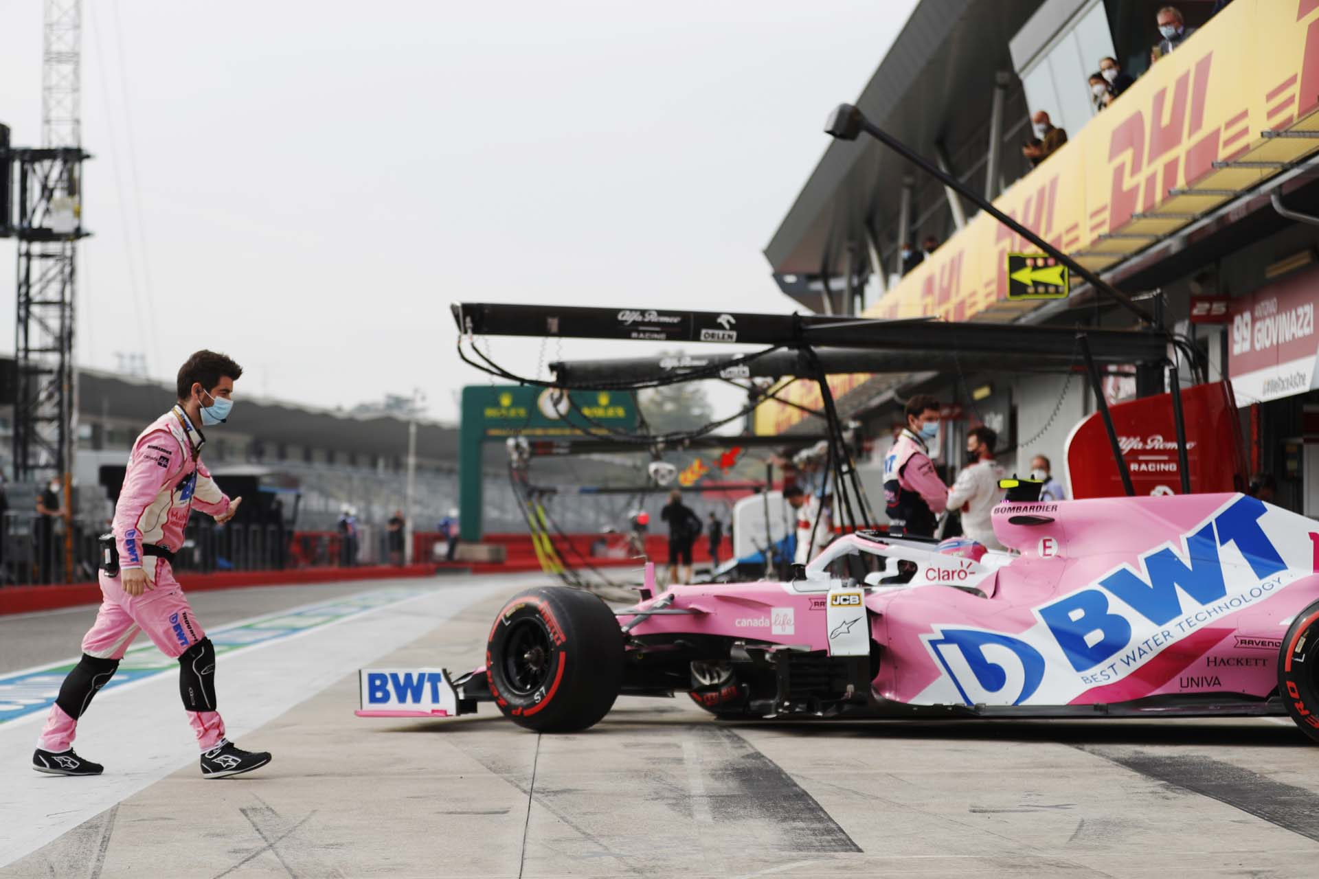 Lance Stroll, Racing Point, exits his pit garage