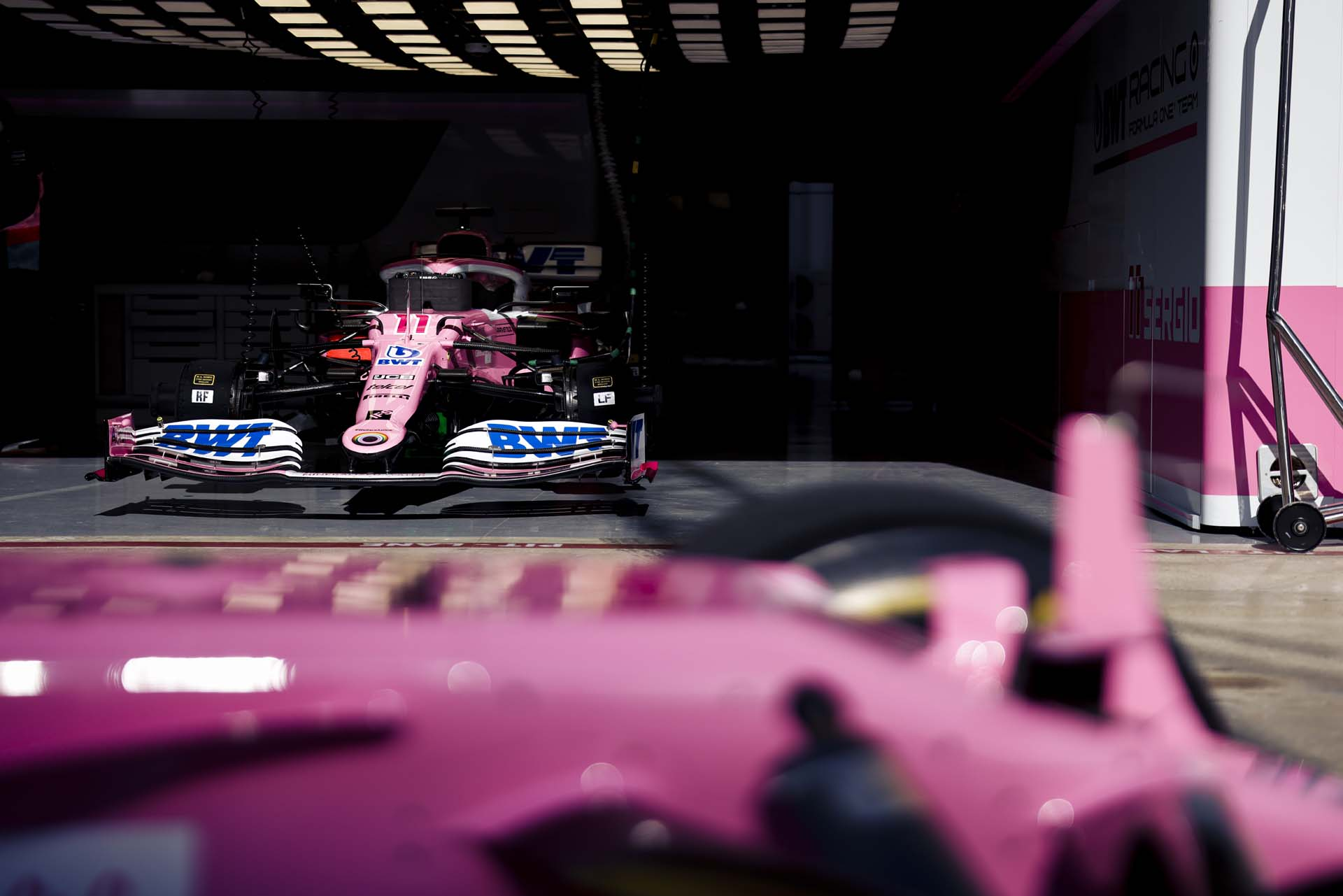 Car of Sergio Perez, Racing Point RP20 in the garage
