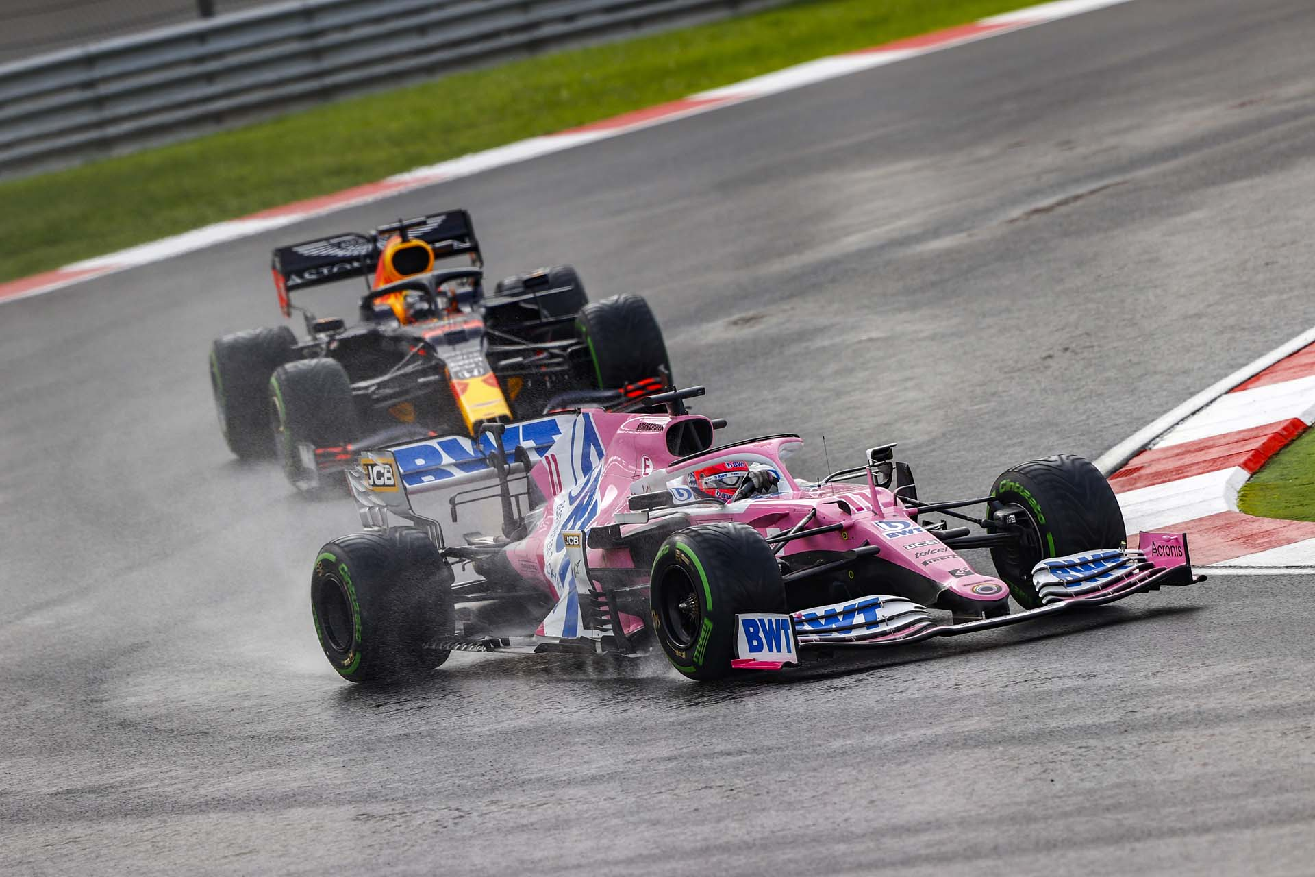 Sergio Perez, Racing Point RP20, leads Max Verstappen, Red Bull Racing RB16