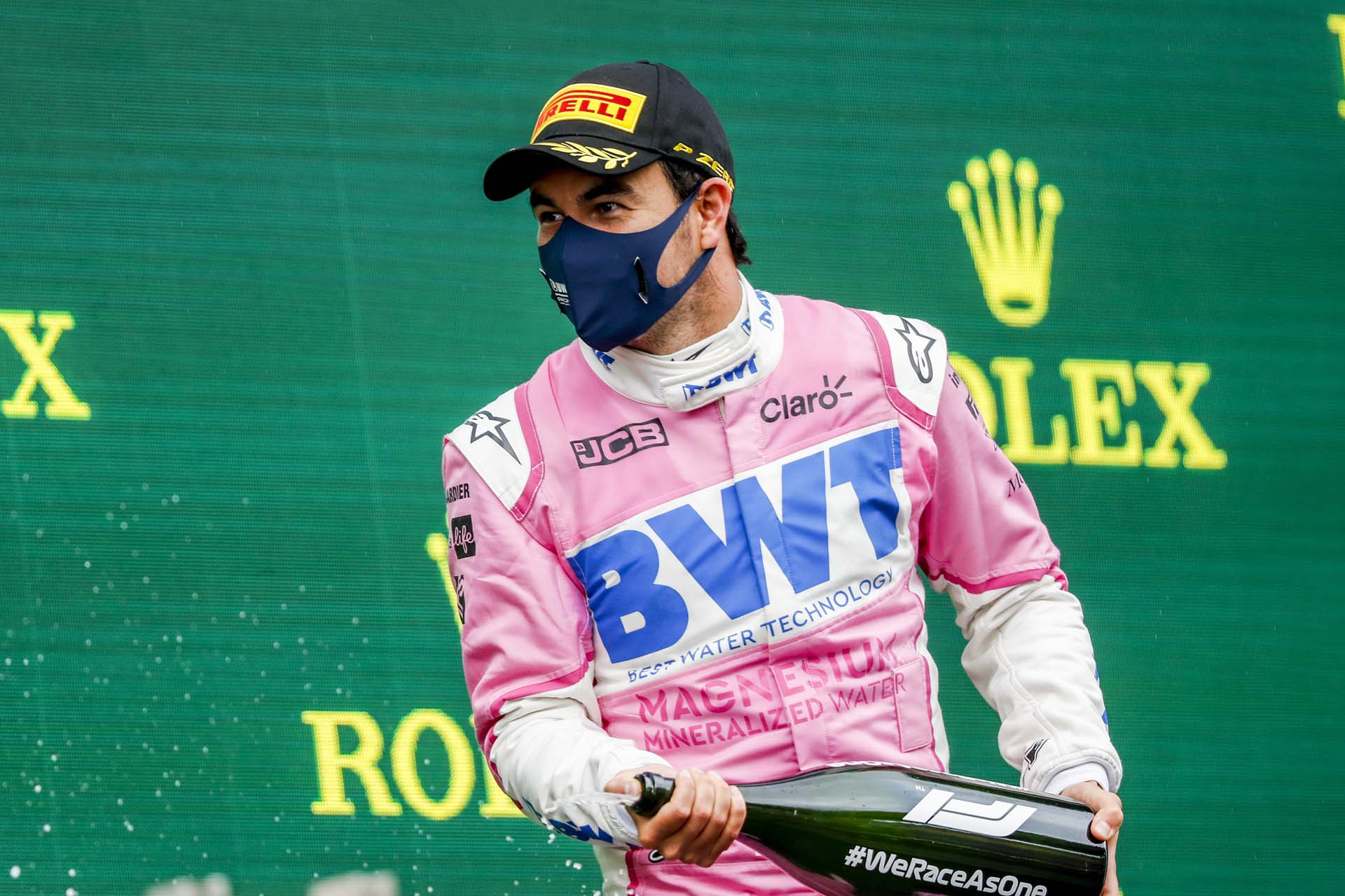 Sergio Perez, Racing Point, 2nd position, on the podium