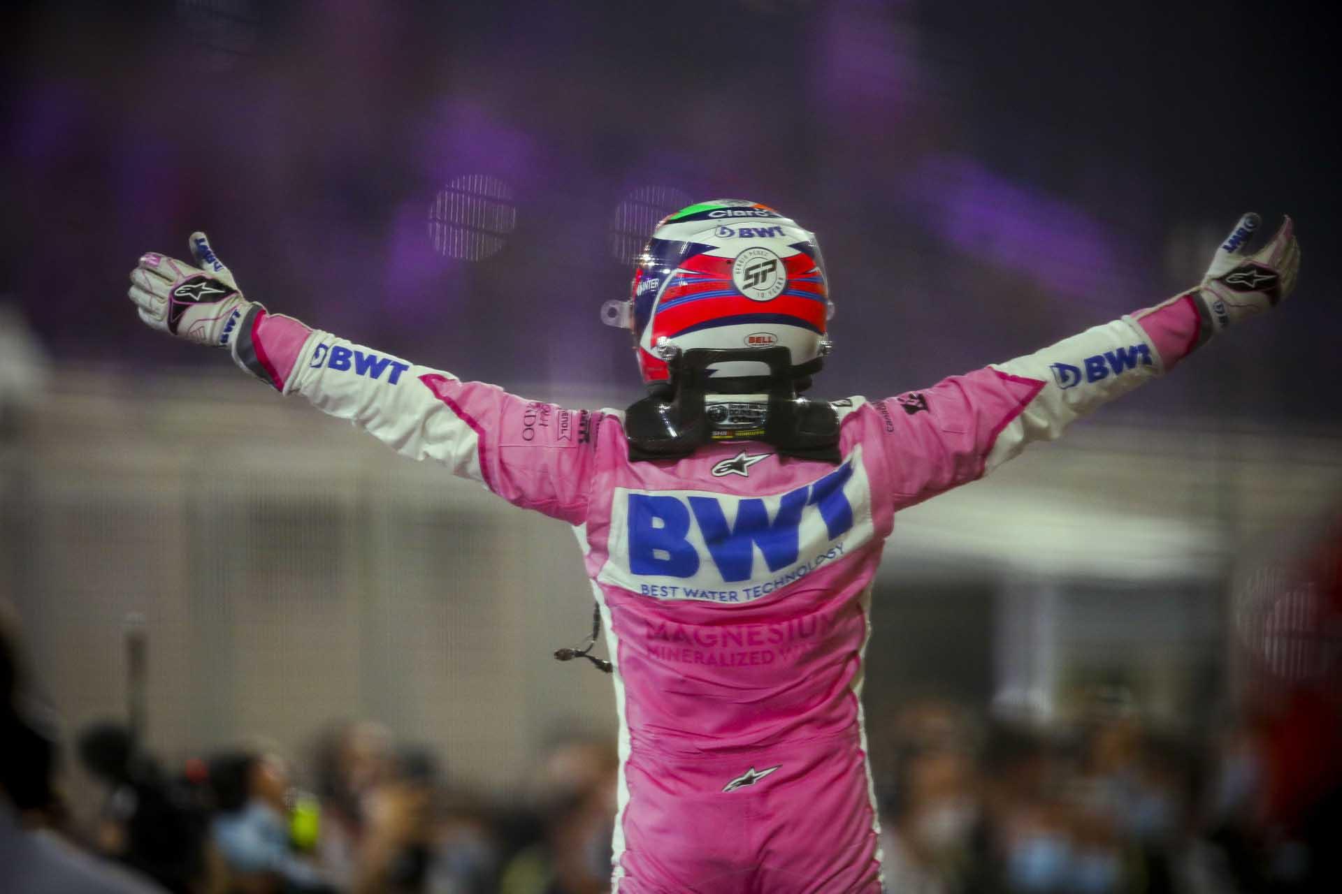 Race Winner Sergio Perez, Racing Point celebrates in Parc Ferme