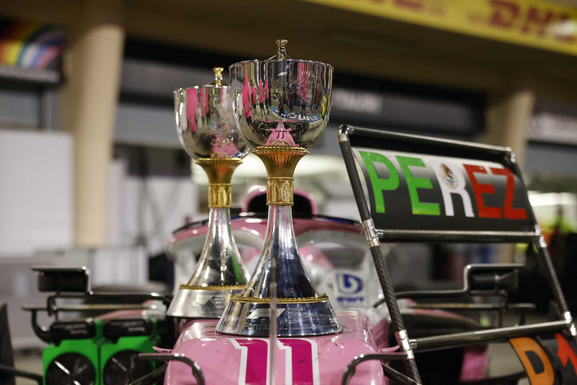 The trophies on the car of Sergio Perez, Racing Point, 1st position