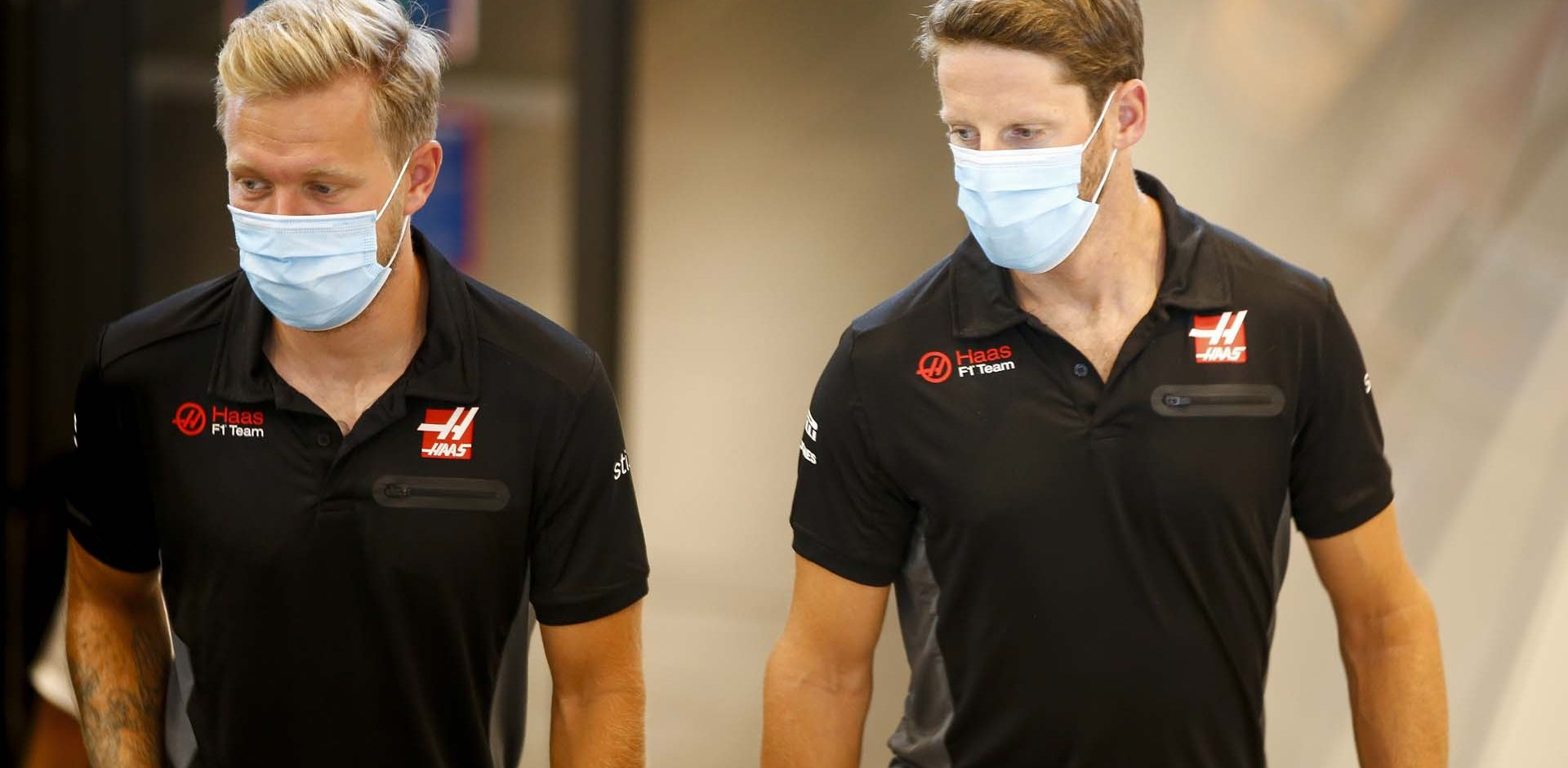 JULY 09: Kevin Magnussen, Haas F1 and Romain Grosjean, Haas F1 during the Styrian GP on Thursday July 09, 2020. (Photo by Andy Hone / LAT Images)