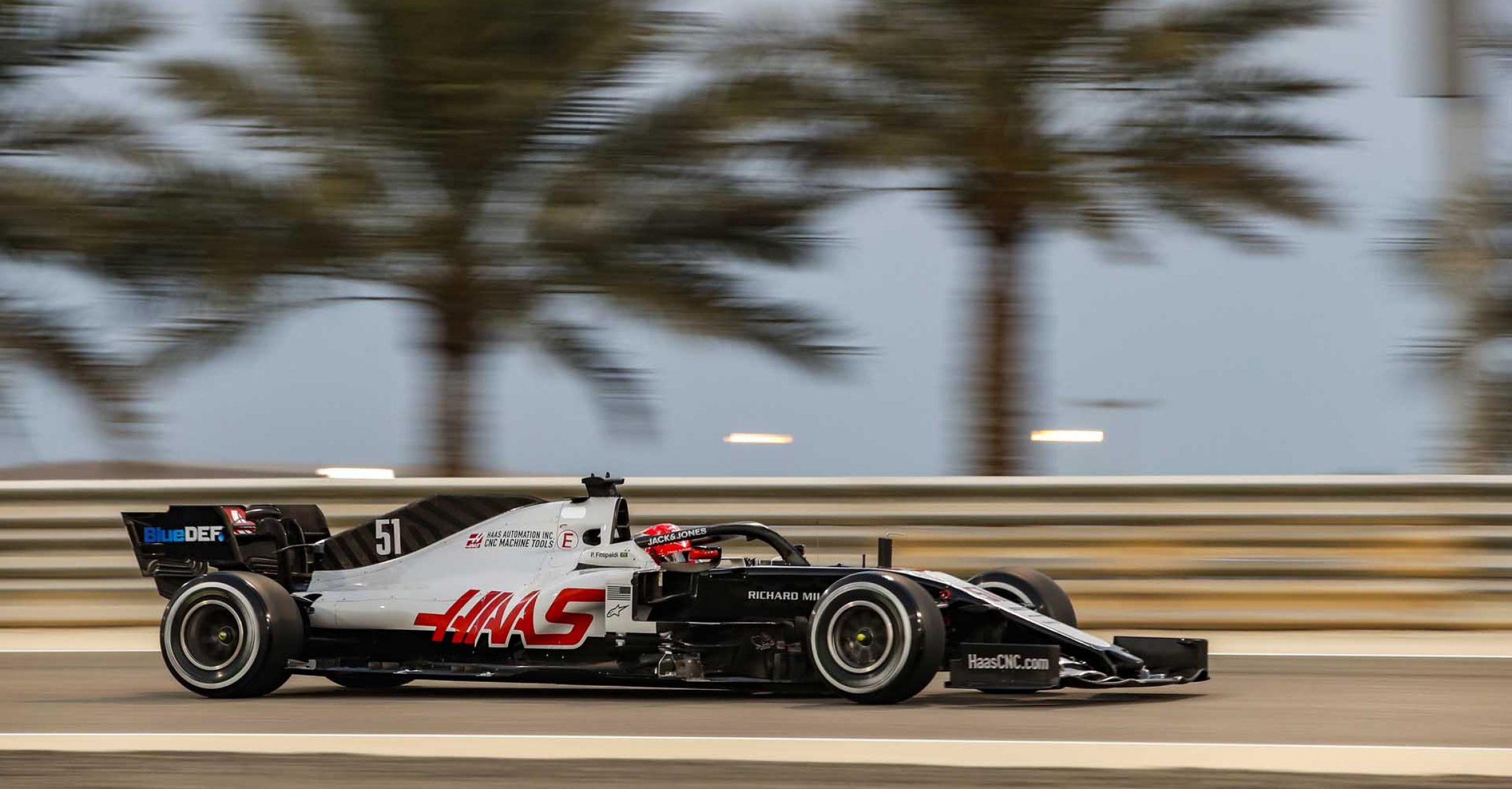 BAHRAIN INTERNATIONAL CIRCUIT, BAHRAIN - DECEMBER 04: Pietro Fittipaldi, Haas F1 Haas VF-20 during the Sakhir GP at Bahrain International Circuit on Friday December 04, 2020 in Sakhir, Bahrain. (Photo by Zak Mauger / LAT Images)