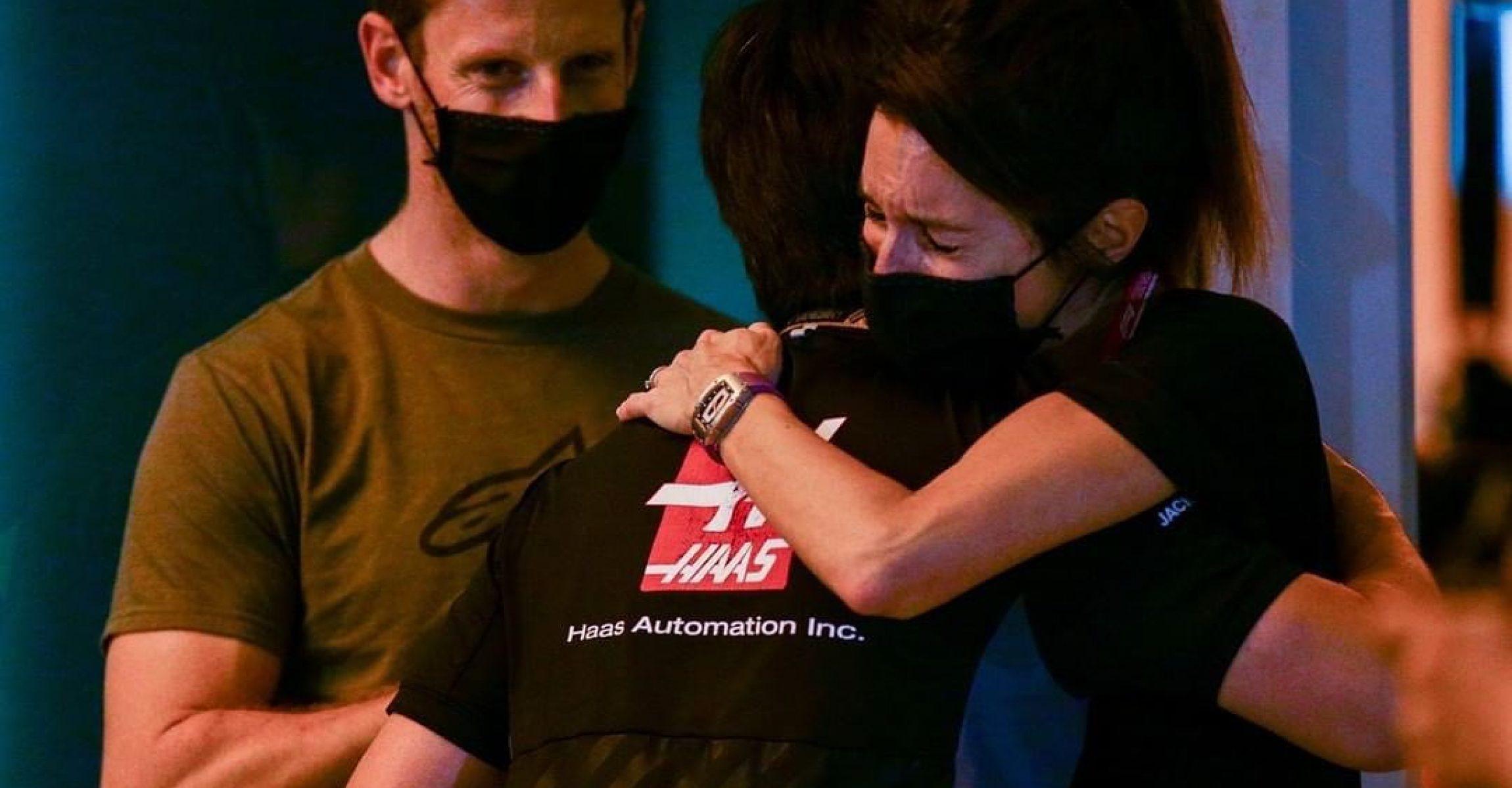 Romain Grosjean, Marion Grosjean, cry, Haas