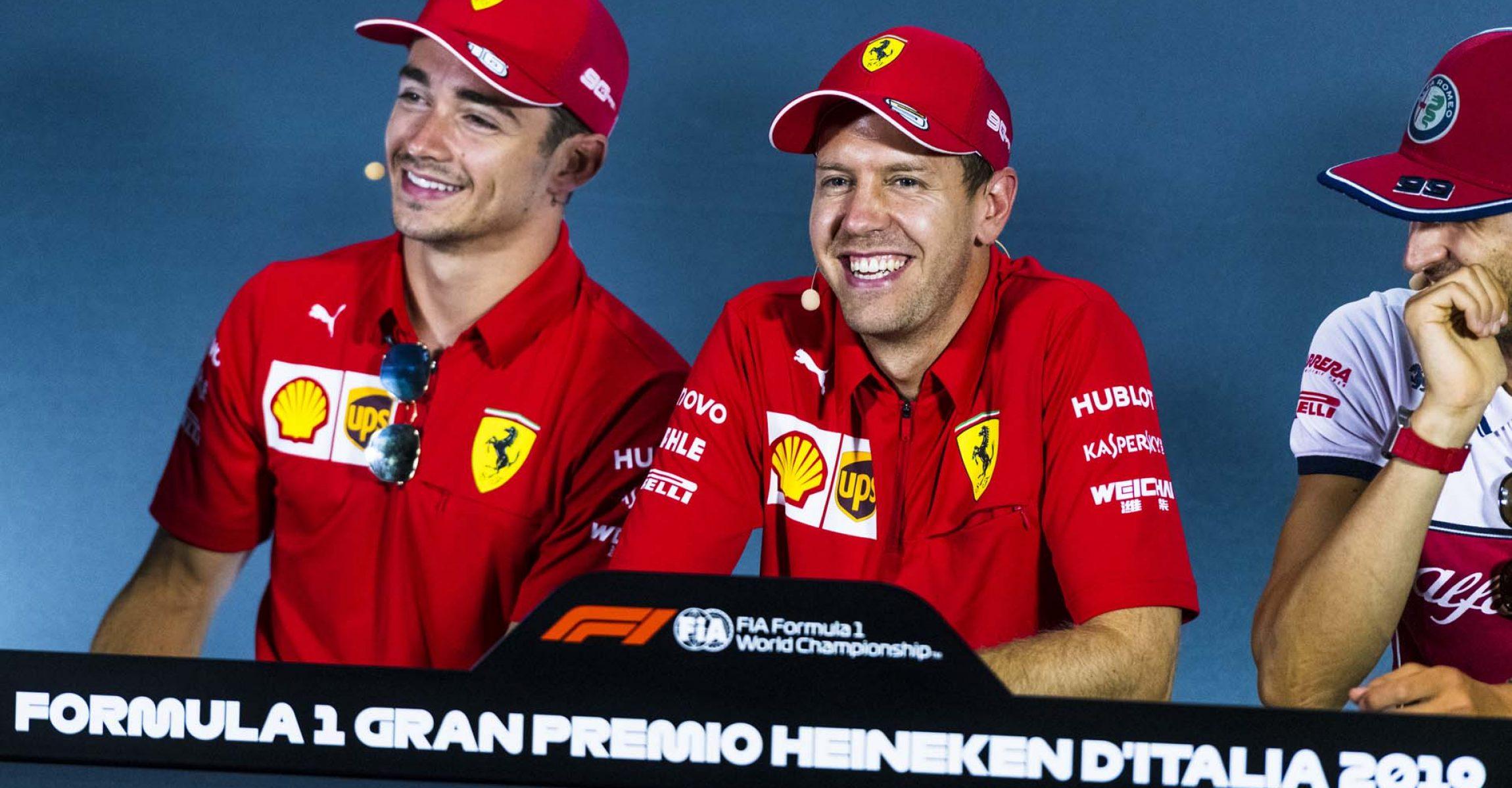 Charles Leclerc, Sebastian Vettel, Antonio Giovinazzi, Ferrari, Alfa Romeo, press conference, Monza