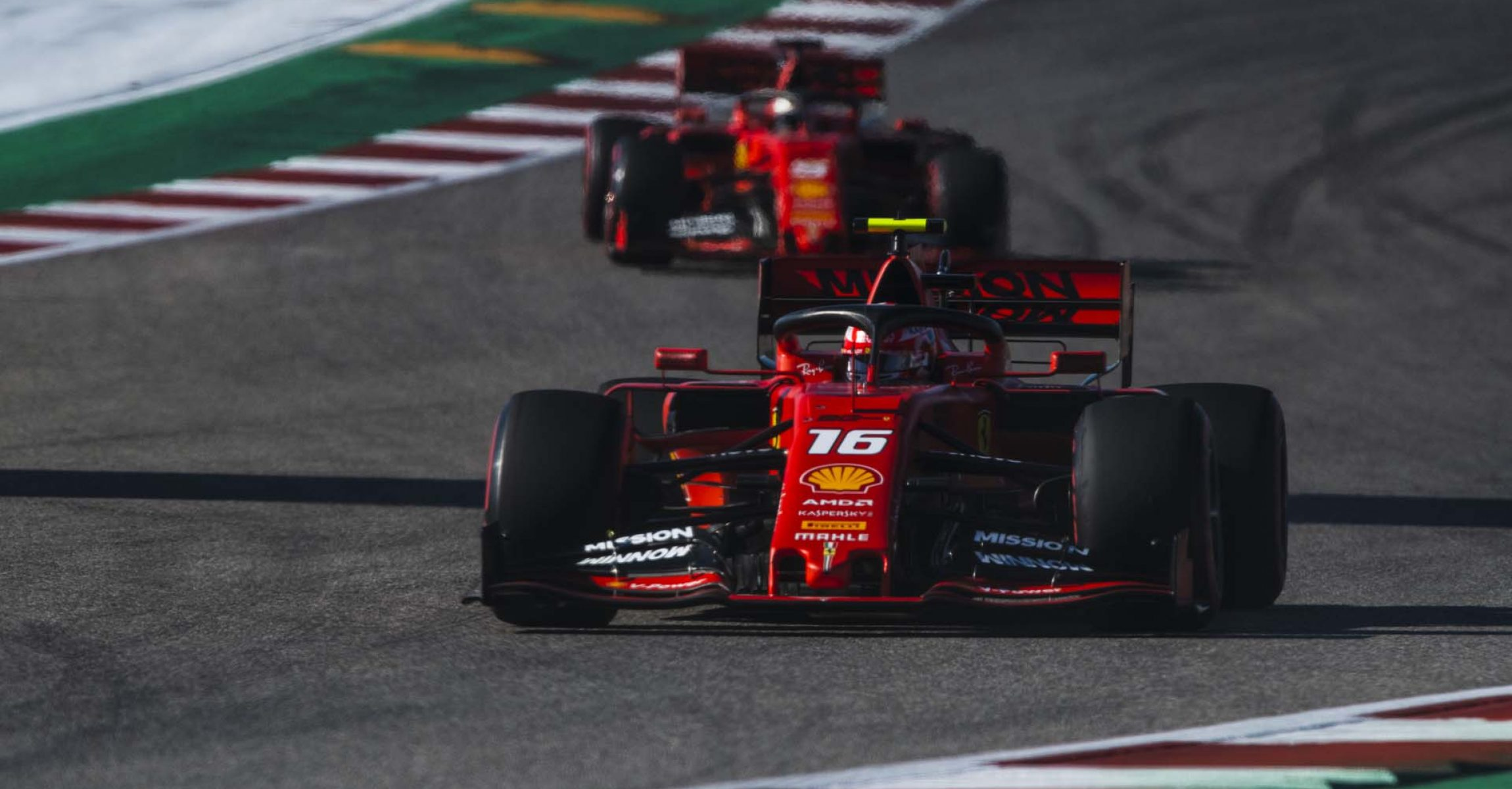 Charles Leclerc followed by Sebastian Vettel
