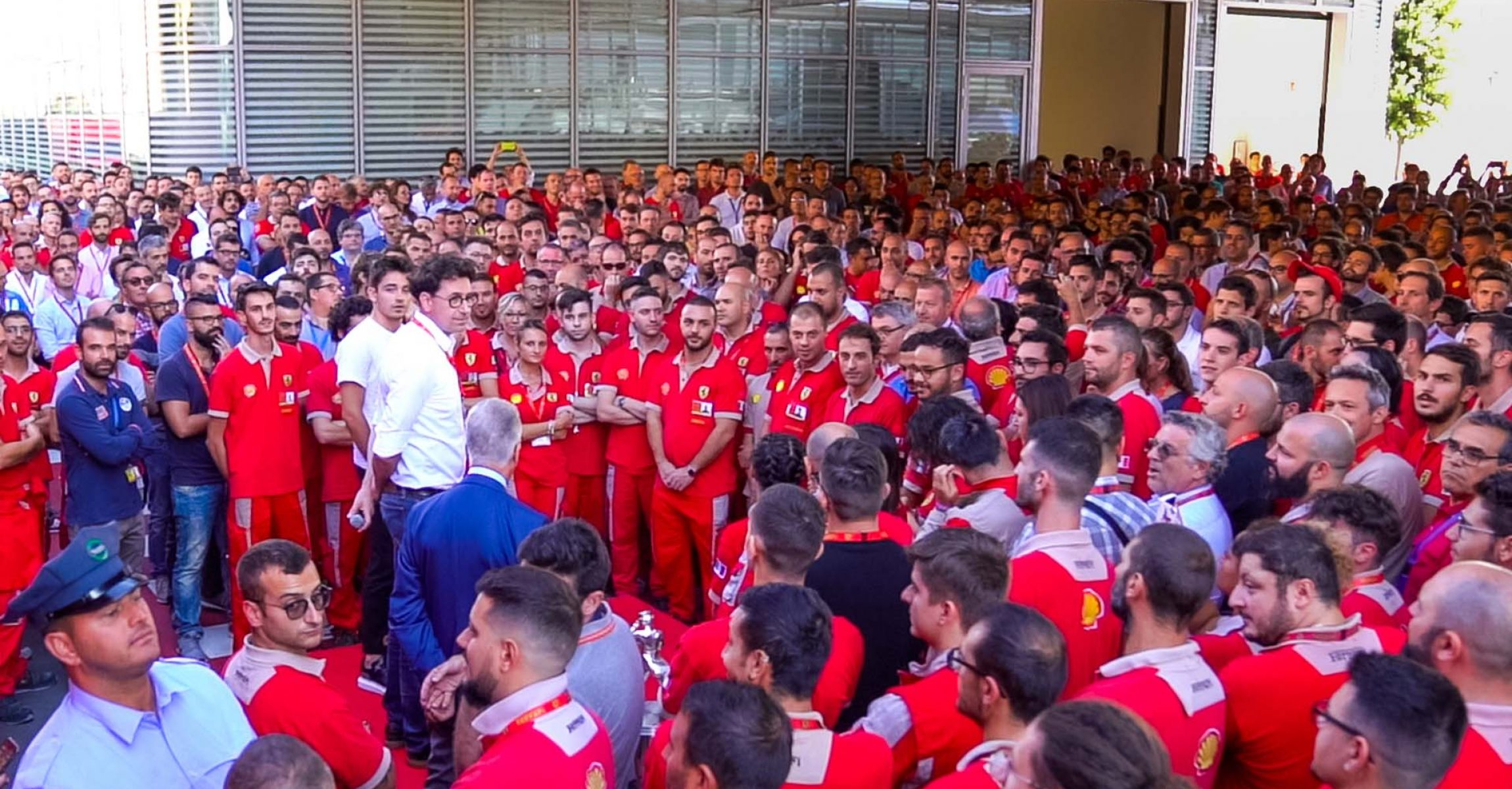 Ferrari celebration Charles Leclerc's first wins with Mattia Binotto