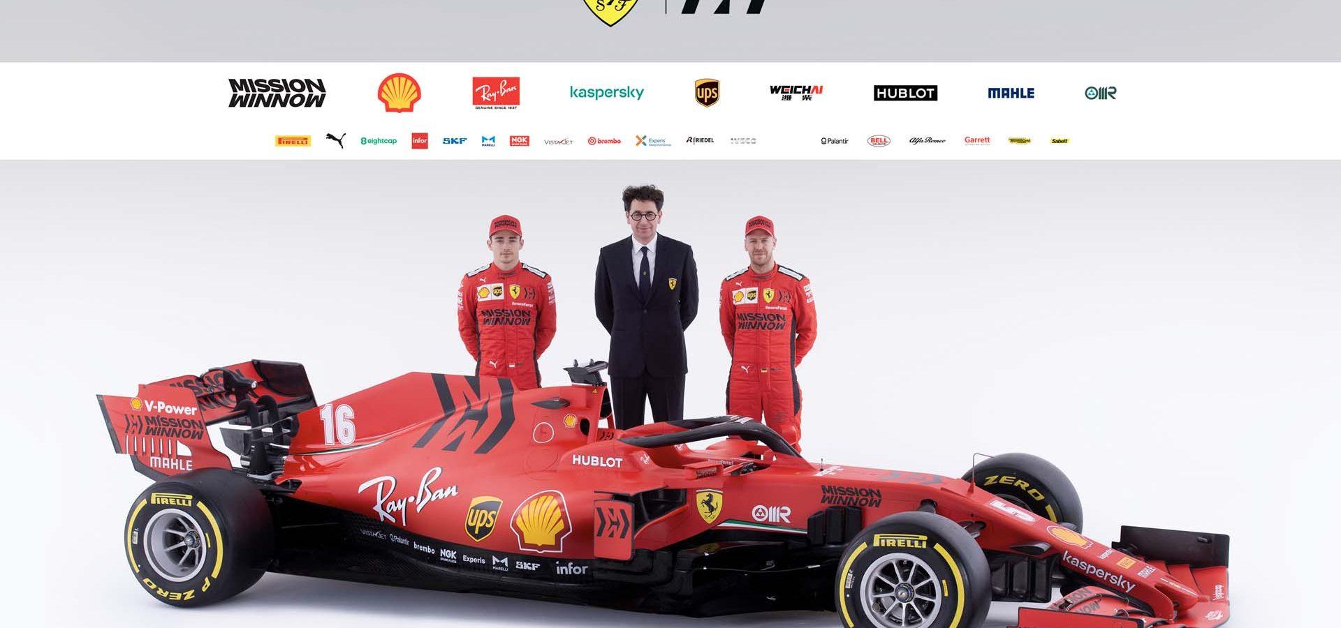 Charles Leclerc Sebastian Vettel Mattia Binotto, Ferrari SF1000 launch studio