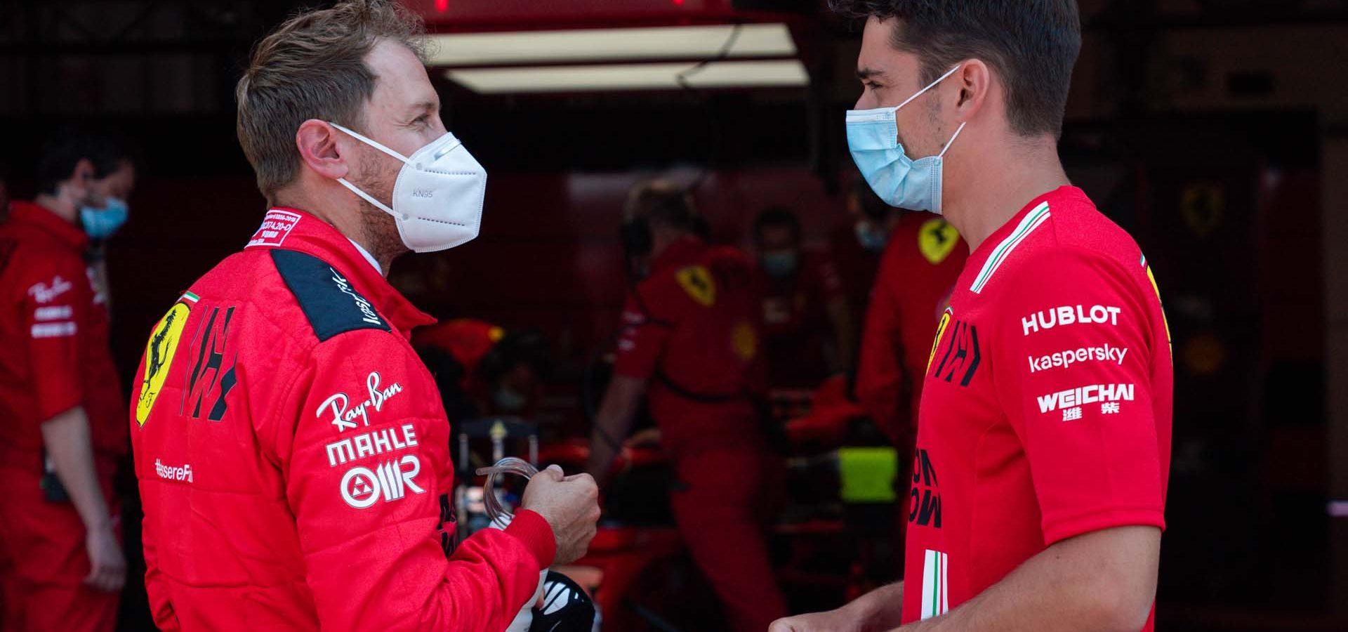 Sebastian Vettel Charles Leclerc masks, Ferrari, Mugello