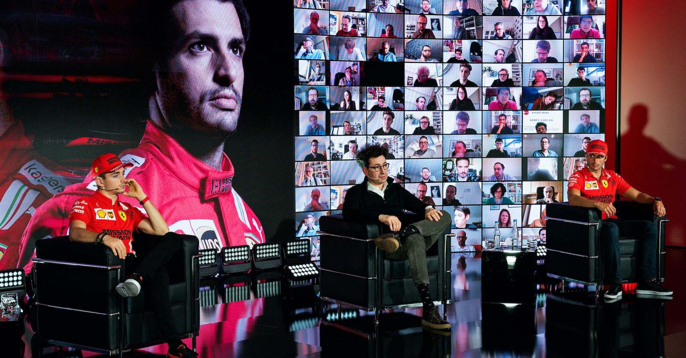 2021 FERRARI TEAM LAUNCH  - MARANELLO 26/02/2021 credit: © Scuderia Ferrari Press Office Mattia Binotto, Carlos Sainz, Charles Leclerc
