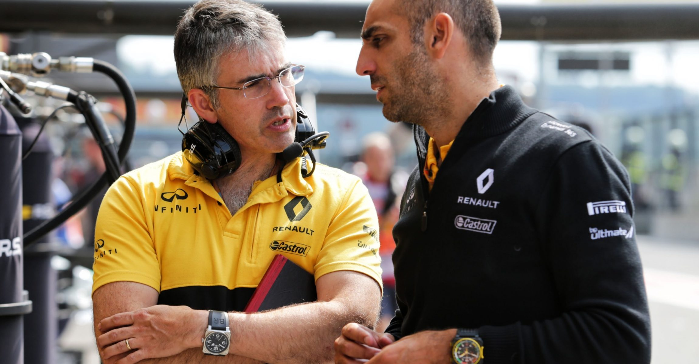 (L to R): Nick Chester (GBR) Renault Sport F1 Team Chassis Technical Director with Cyril Abiteboul (FRA) Renault Sport F1 Managing Director. Belgian Grand Prix, Saturday 26th August 2017. Spa-Francorchamps, Belgium.