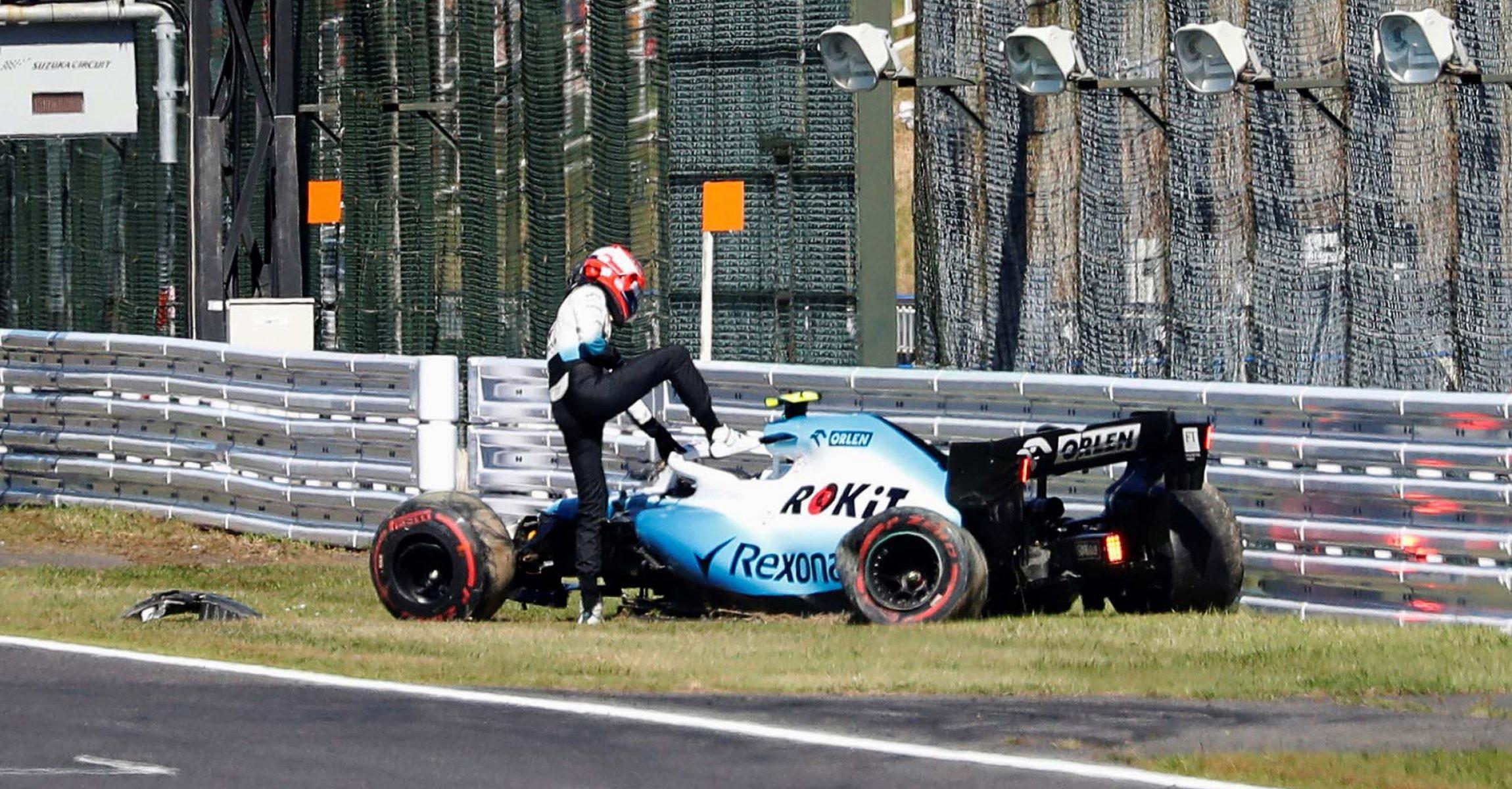 Formula One F1 - Japanese Grand Prix - Suzuka Circuit, Suzuka, Japan - October 13, 2019 Williams' Robert Kubica gets off from his machine after crashing during qualifying REUTERS/Kim Hong-Ji/Pool
